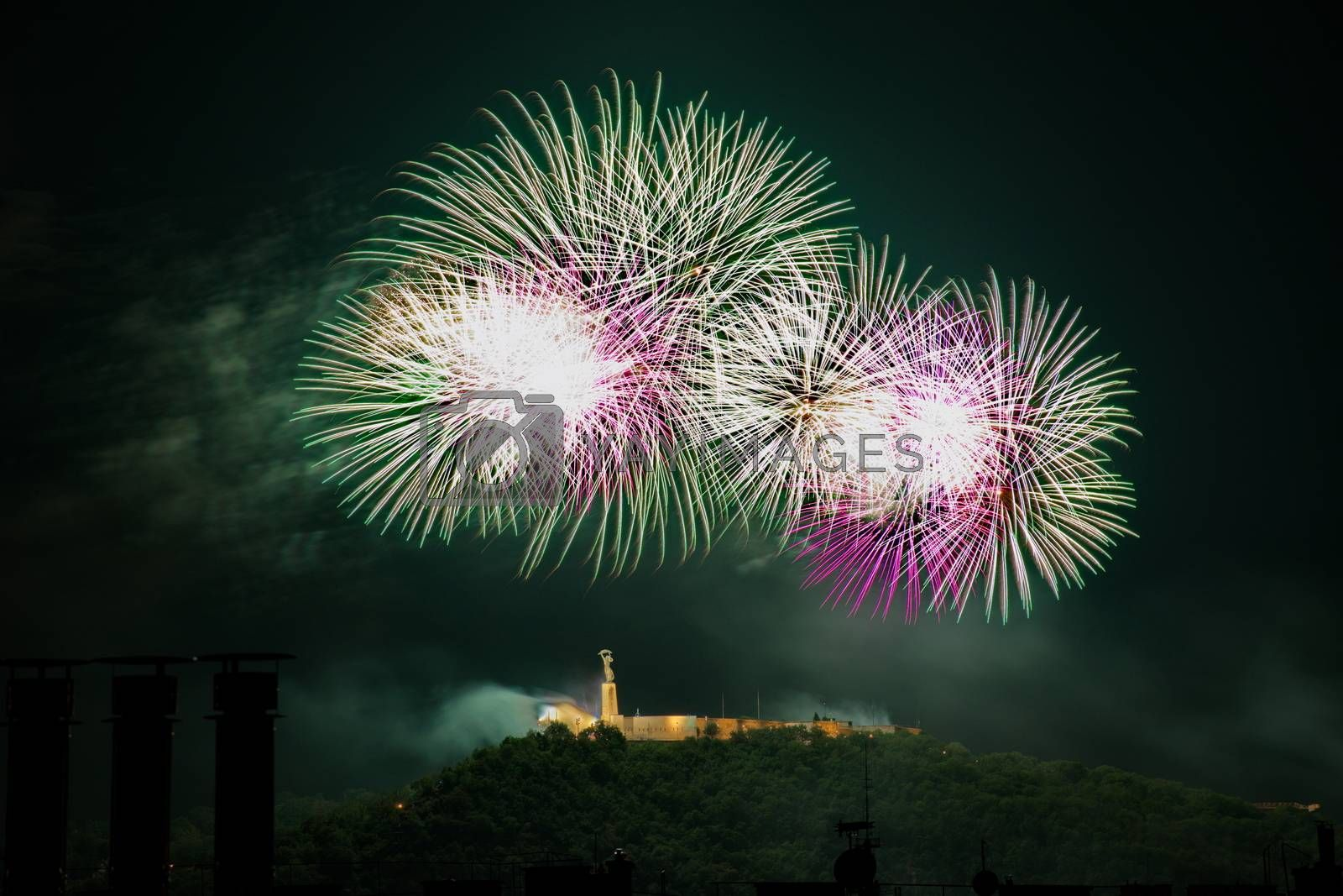 Fireworks over Liberty statue in Budapest, Hungary