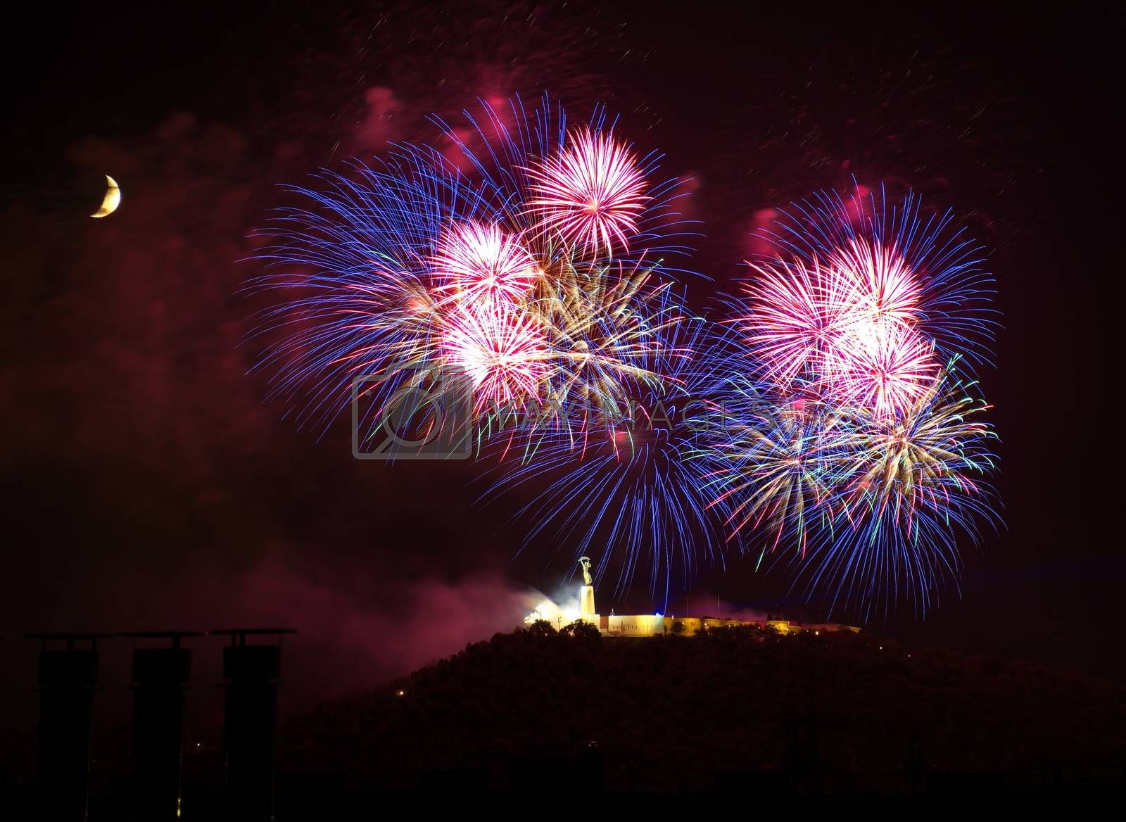 Royalty free image of Fireworks over Liberty statue in Budapest, Hungary by anderm