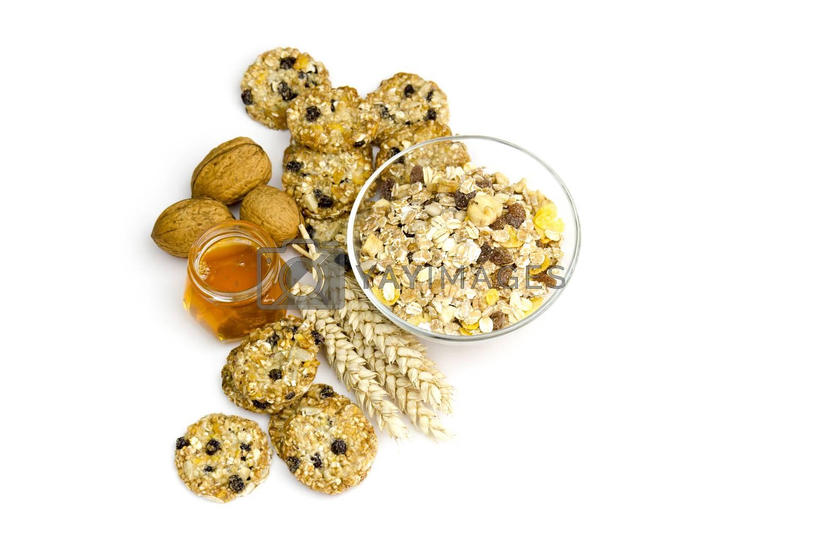 cereal cookies, muesli, honey and nuts
