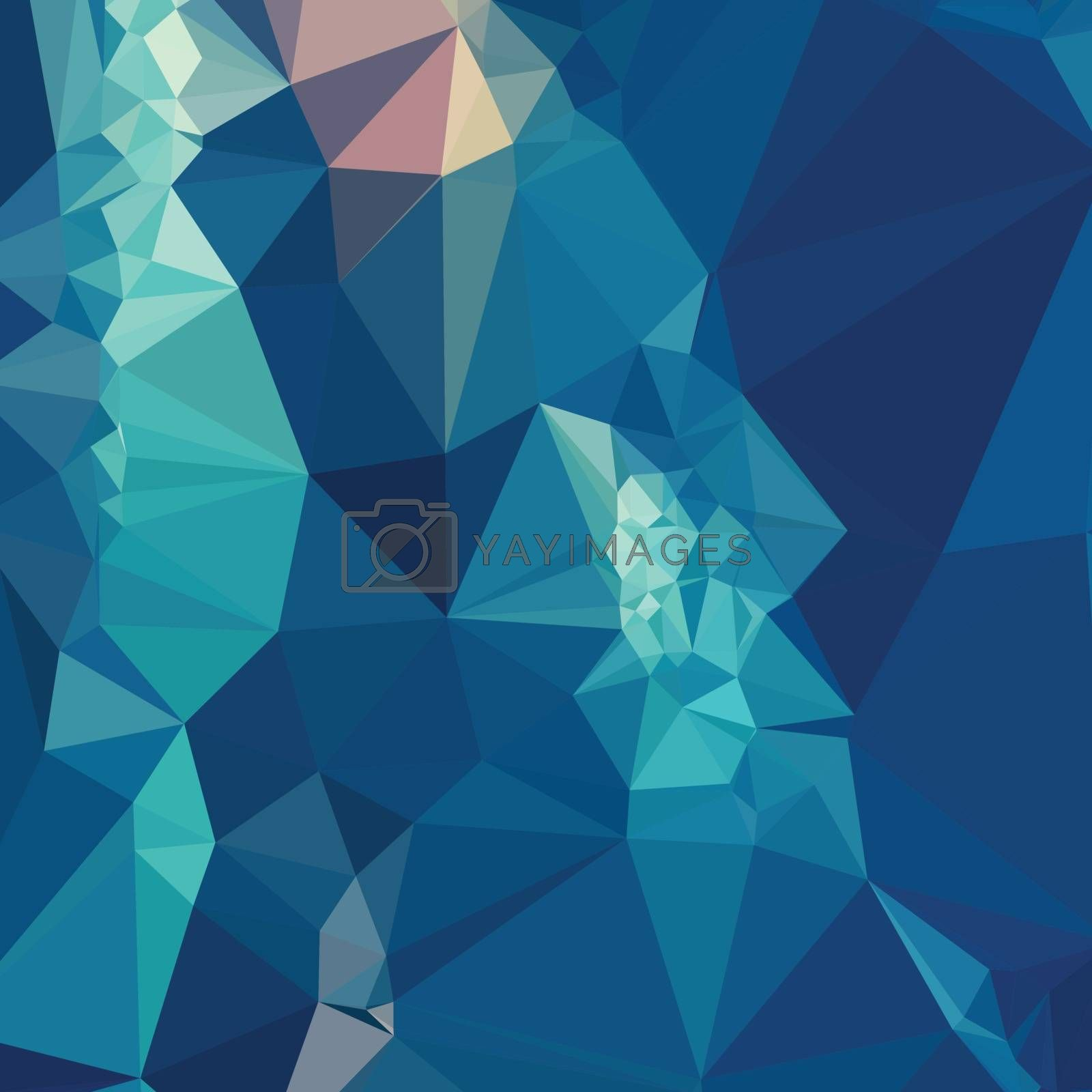 Low polygon style illustration of a blue abstract geometric background.