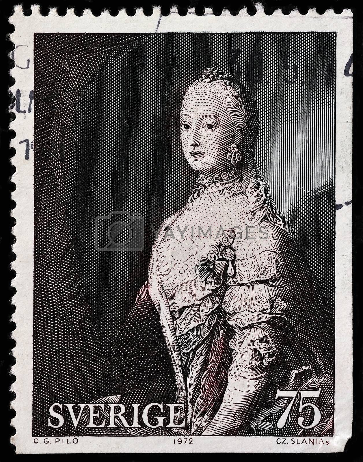 SWEDEN - CIRCA 1972: A stamp printed by SWEDEN shows image portrait of Swedish Crown Princess Sofia-Magdalena (1746-1813) by Anonymous Artist, circa 1972