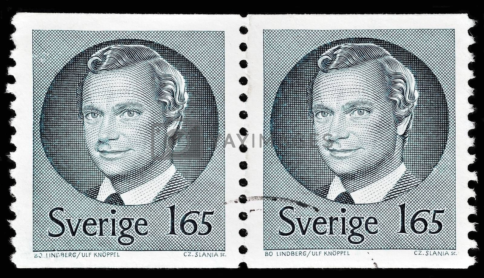 "SWEDEN - CIRCA 1981: A stamp printed in Sweden, shows portrait of king Carl XVI Gustaf of Sweden, without the inscriptions, from the series ""King Carl XVI Gustaf"", circa 1981"