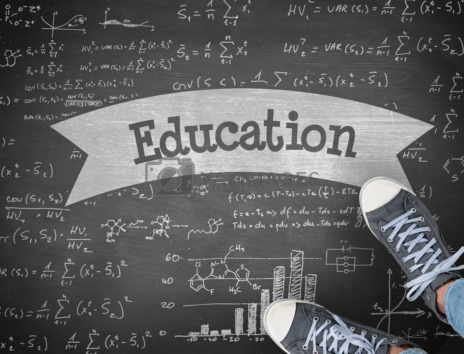 The word education and casual shoes against black background