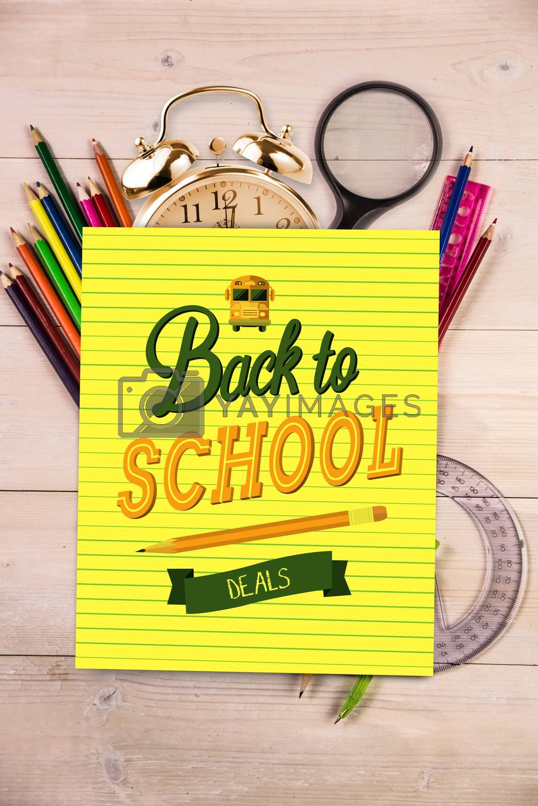 back to school against students desk with yellow page