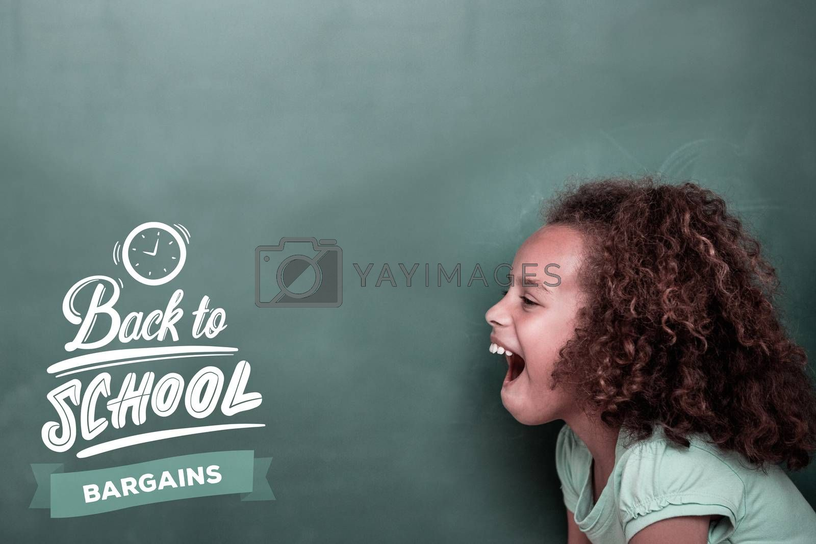 back to school against cute pupil shouting
