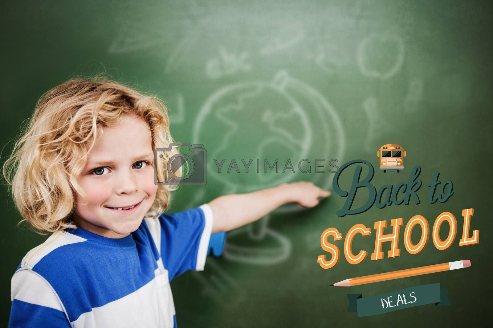 back to school against cute pupil pointing