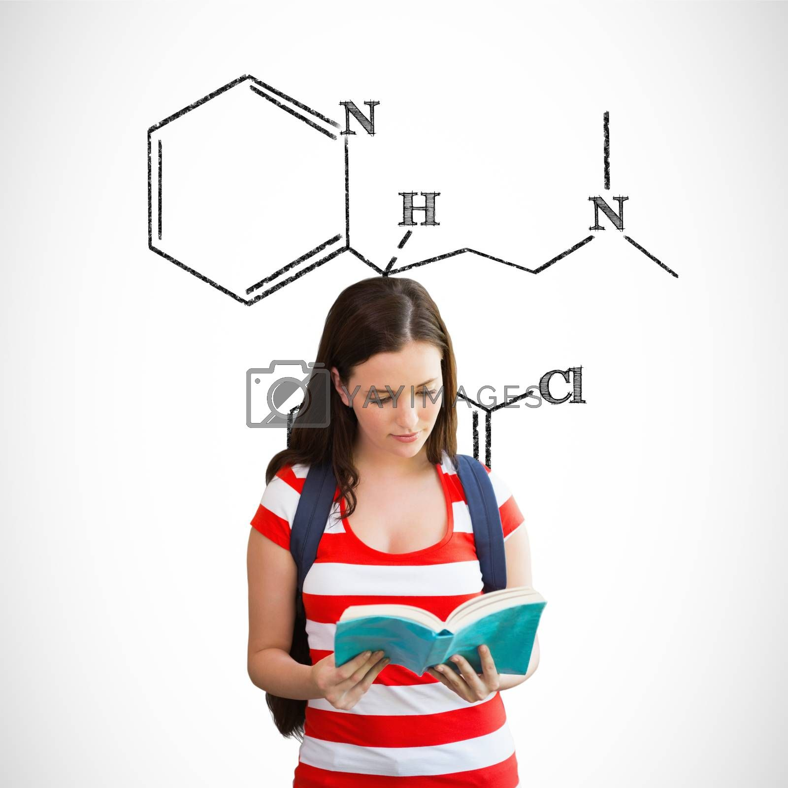 Composite image of student reading book in library by Wavebreakmedia