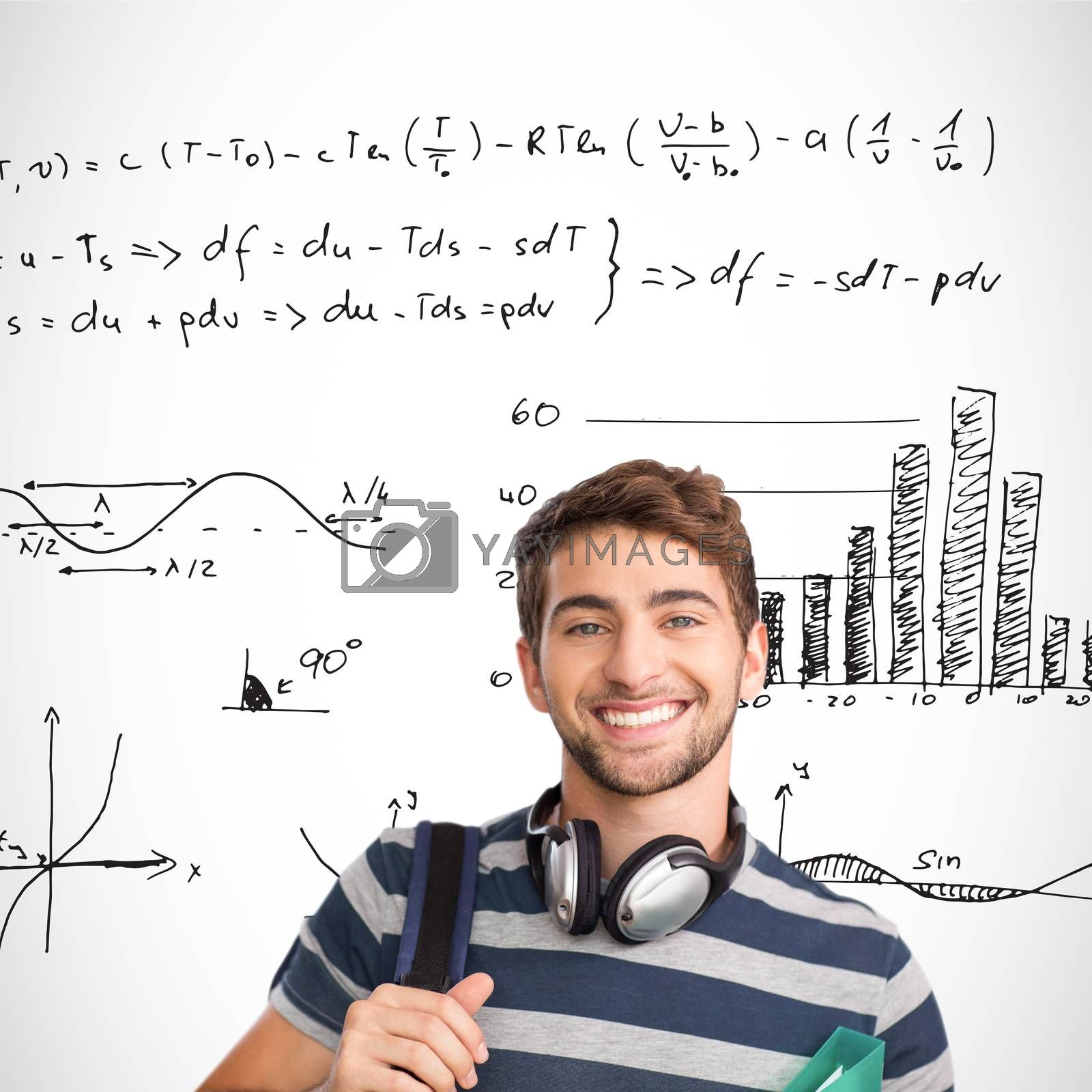 Smiling student against maths equations