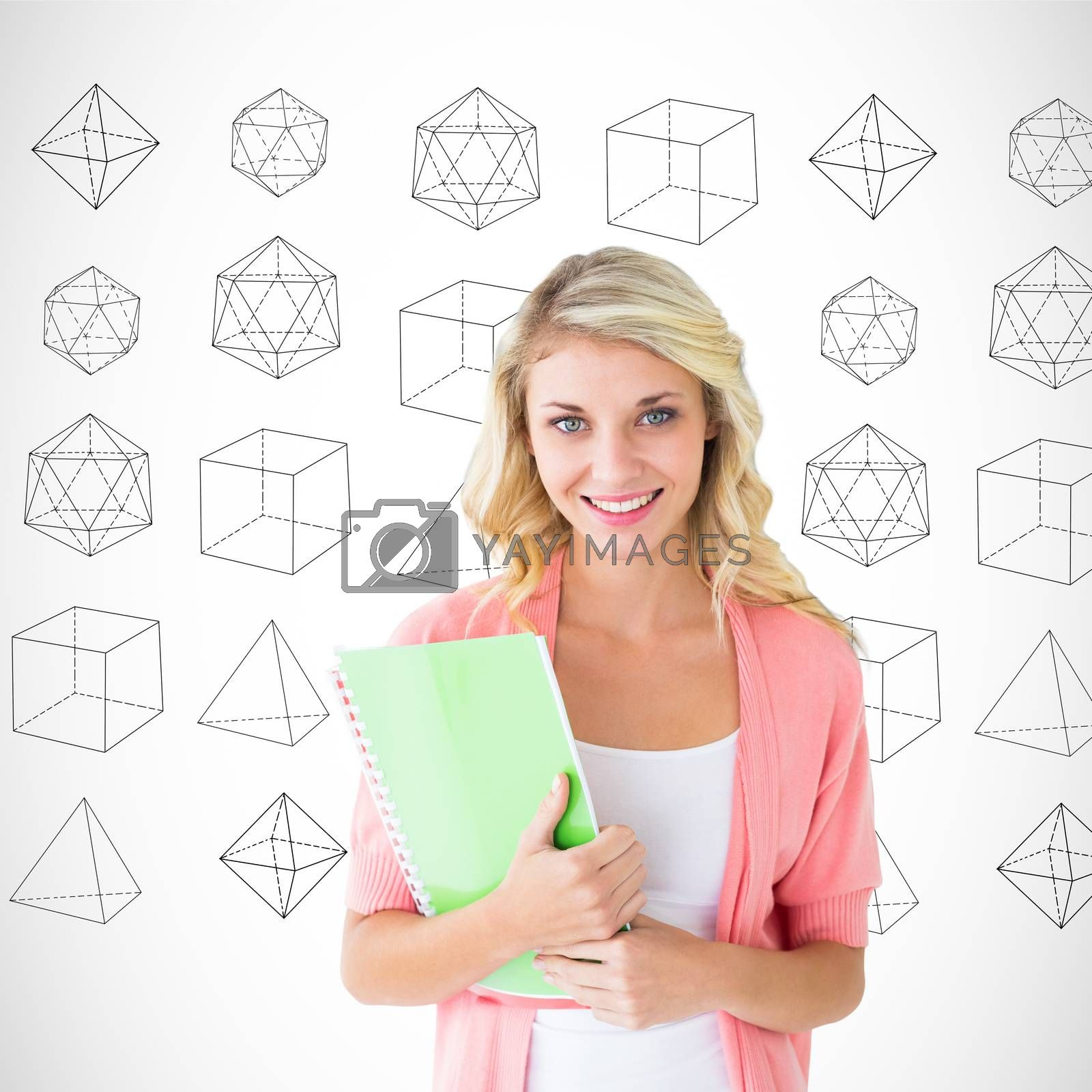 Young pretty student smiling against geometric shape