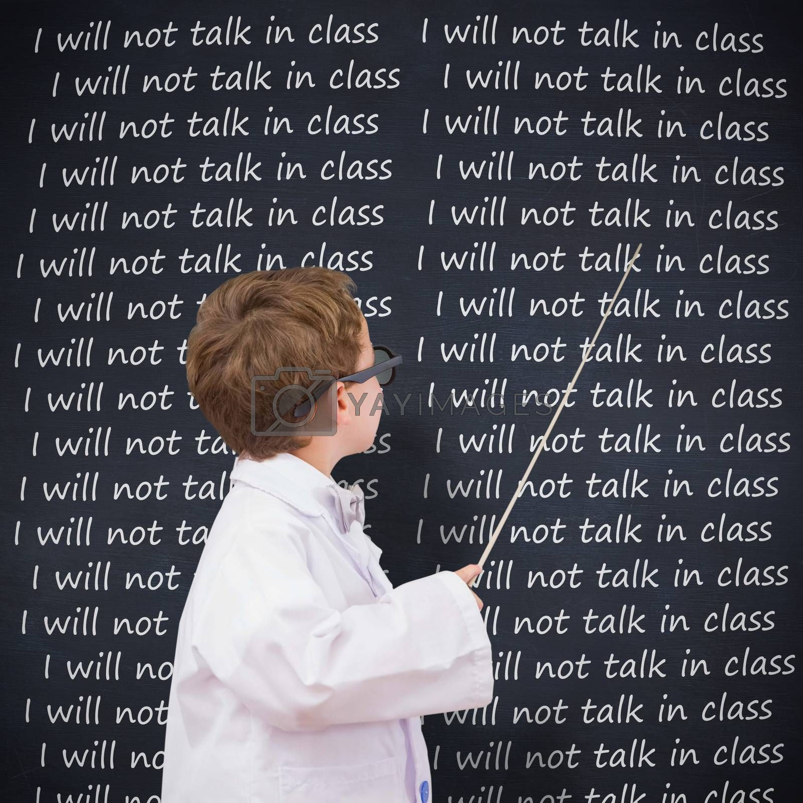 Cute pupil in lab coat against blackboard