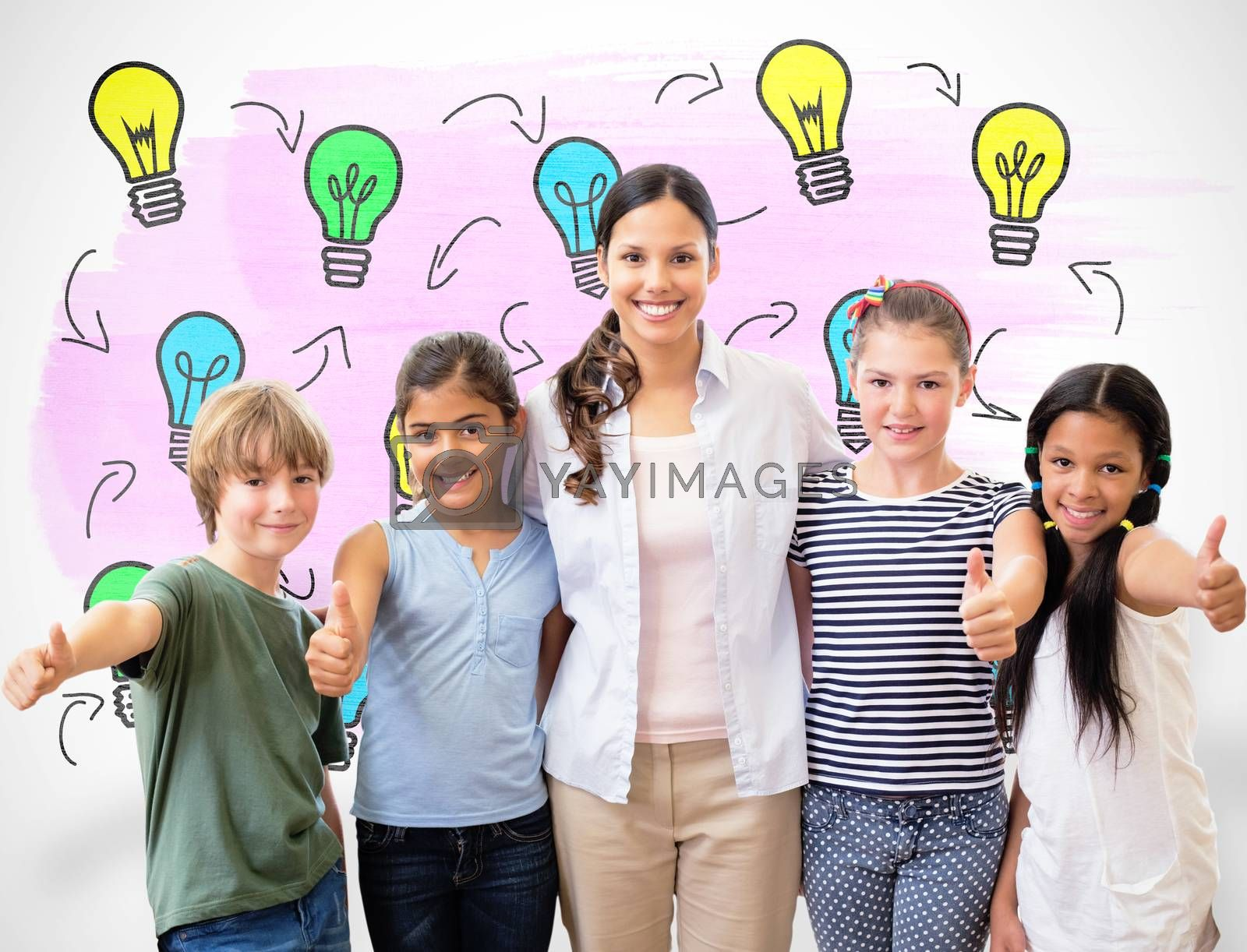 Cute pupils and teacher smiling at camera in computer class  against white background with vignette