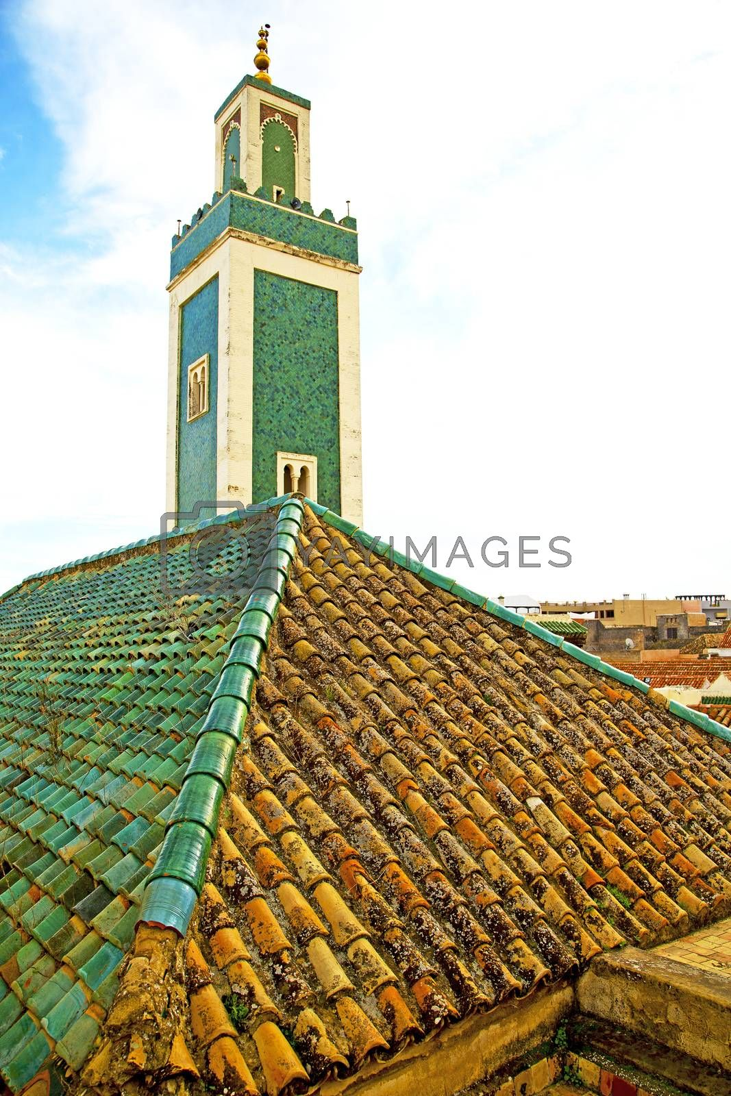 Royalty free image of  muslim   in   mosque  symbol morocco     sky by lkpro