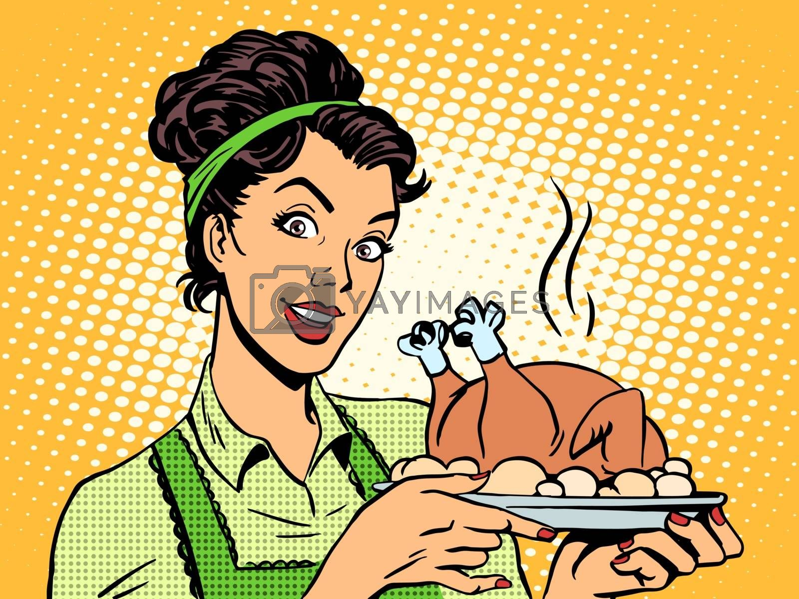 Royalty free image of woman hot dish bird potatoes by studiostoks