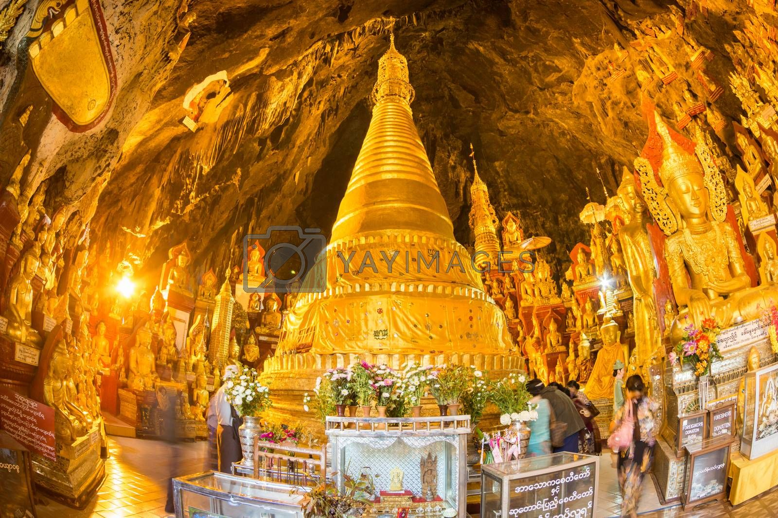 Royalty free image of Golden Buddha statues in Pindaya Cave, Burma, Myanmar. by kasto