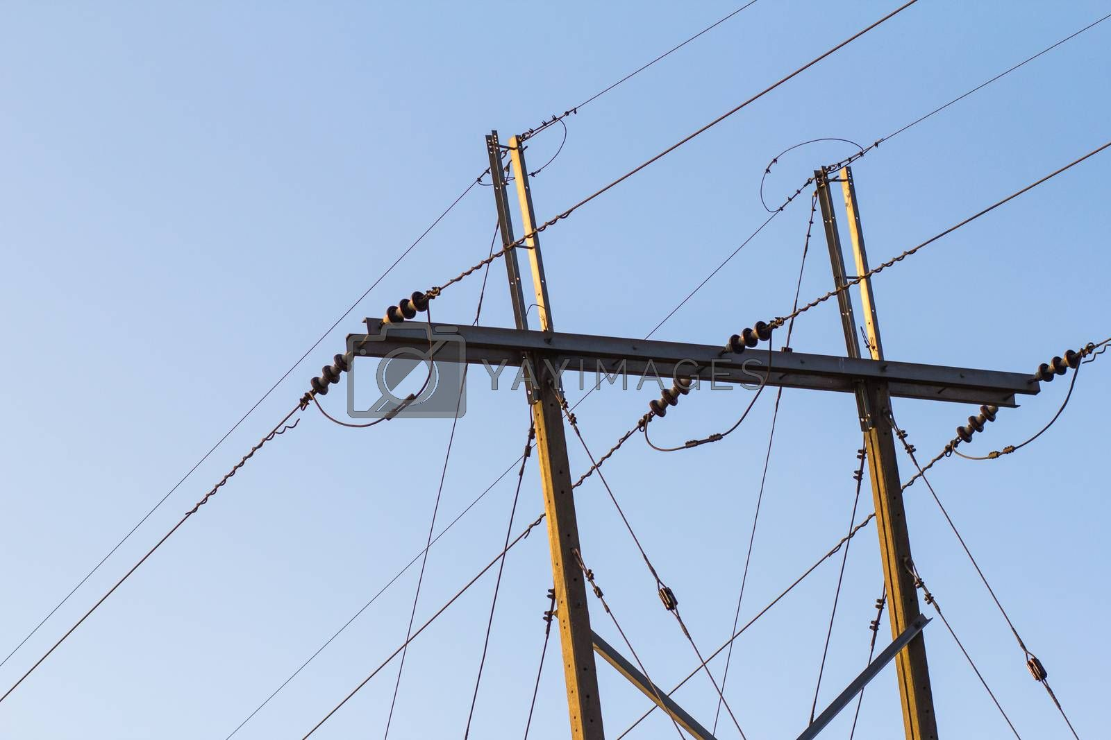 Royalty free image of electricity post on a mountain in Thailand by kritsada1992