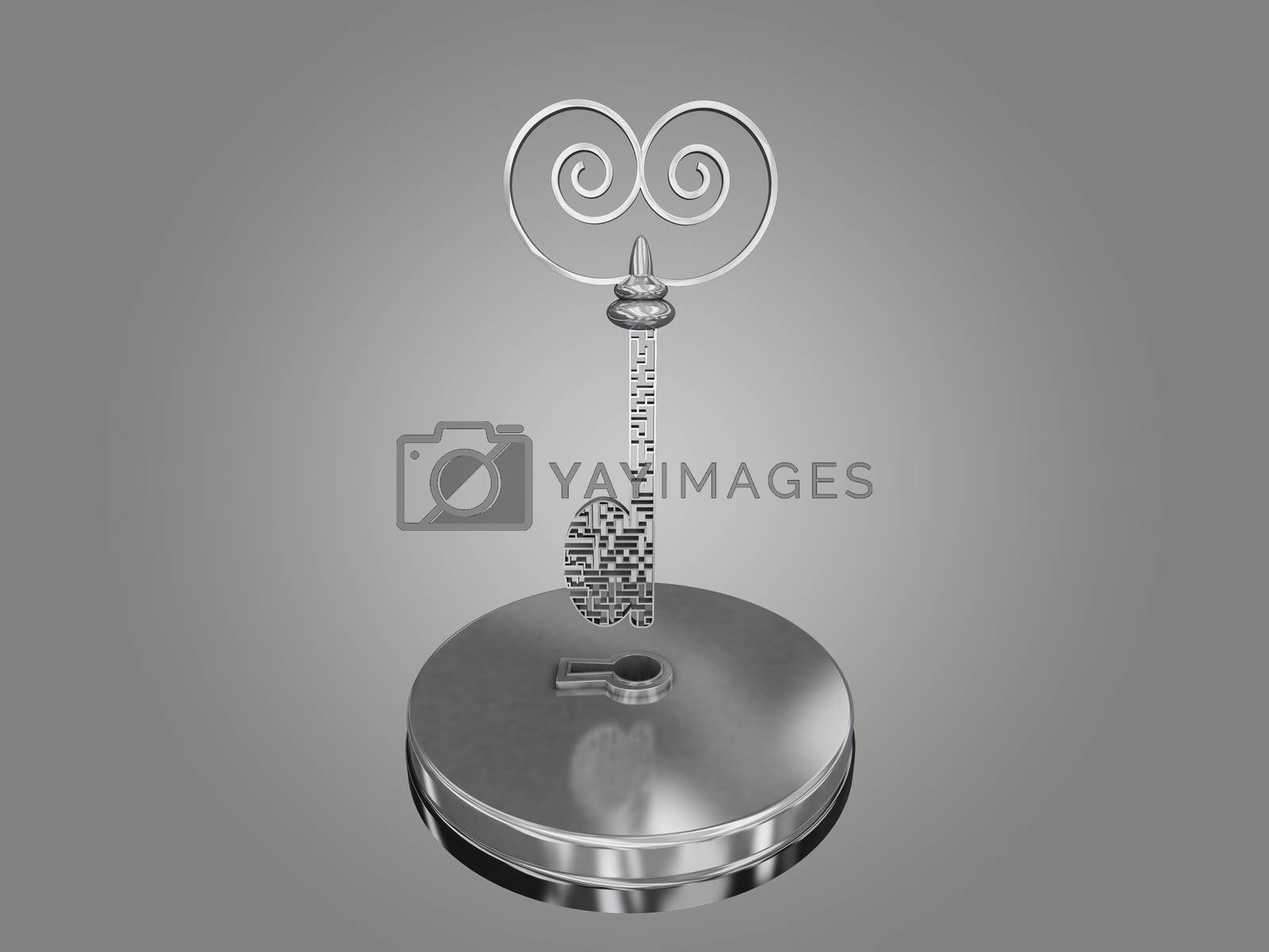 Royalty free image of The key is a maze, on a gray gradient background. by teerawit