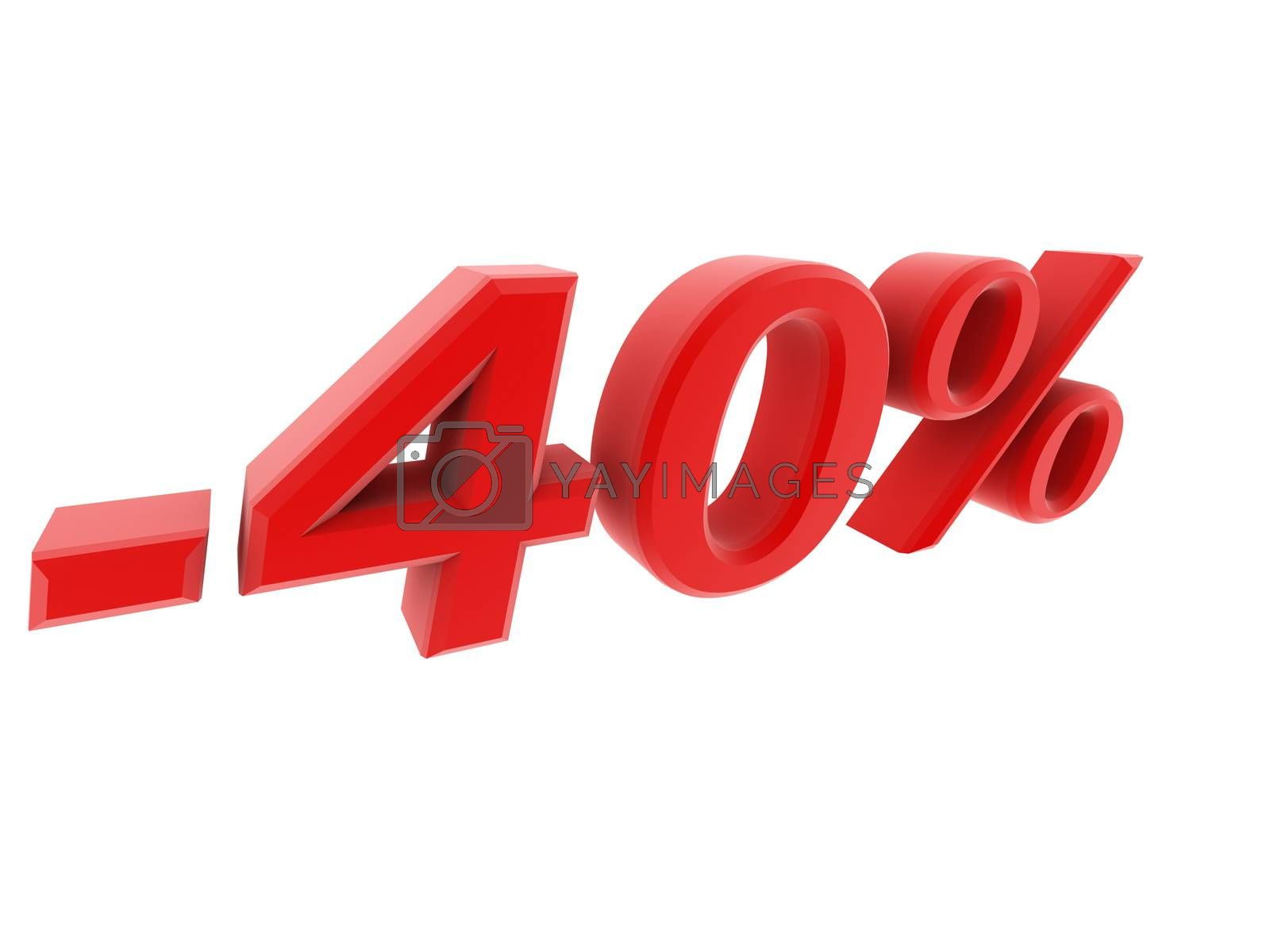 Royalty free image of 3d image 40 percent off digits by dacasdo