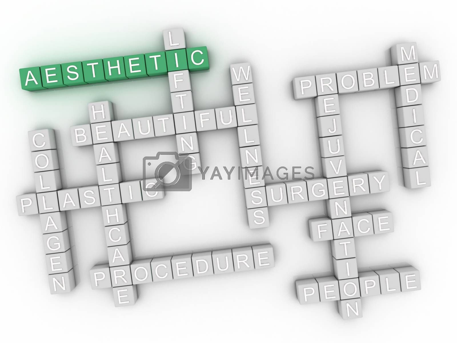 Royalty free image of 3d image Aesthetic issues concept word cloud background by dacasdo