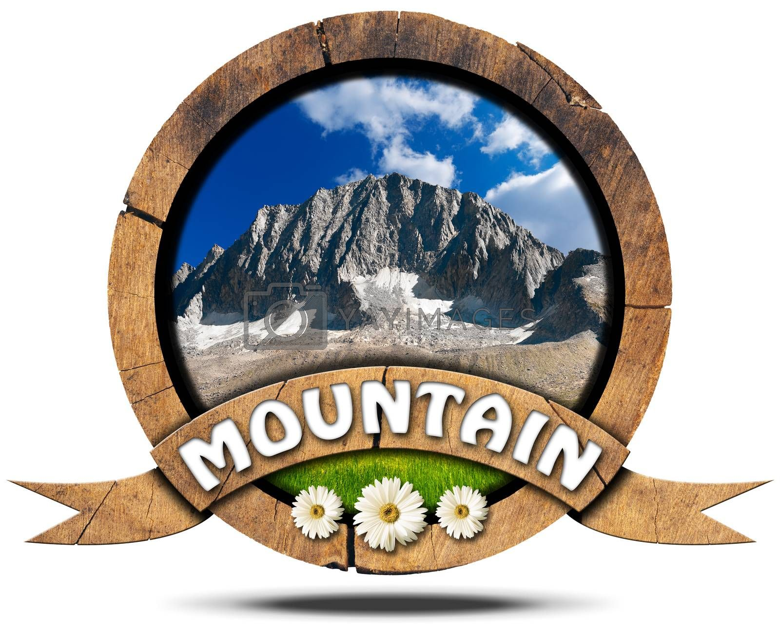 Royalty free image of Mountain - Wooden Symbol with Peak by catalby