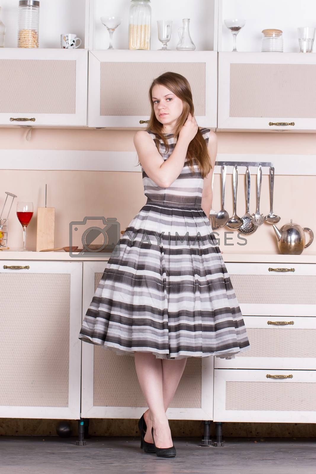 funny beautiful woman in kitchen by victosha