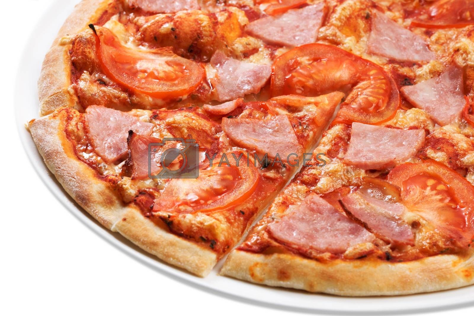 Royalty free image of Pizza slice close up by maxsol