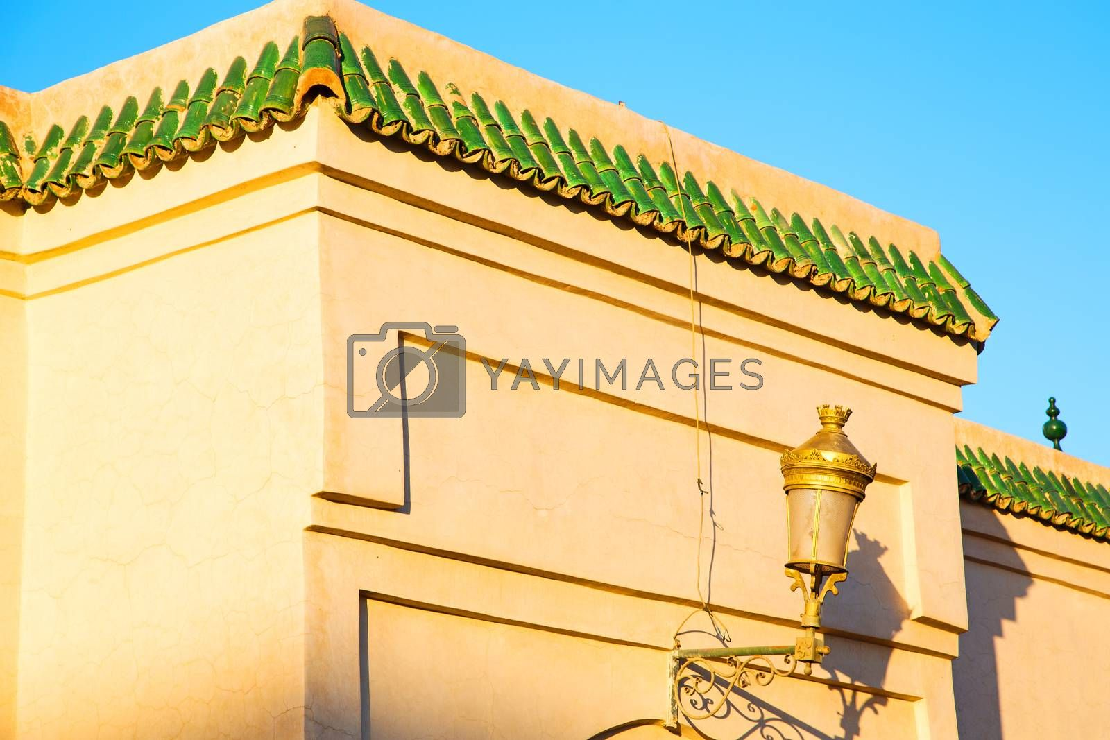 Royalty free image of tile roof  moroccan old wall and brick   by lkpro