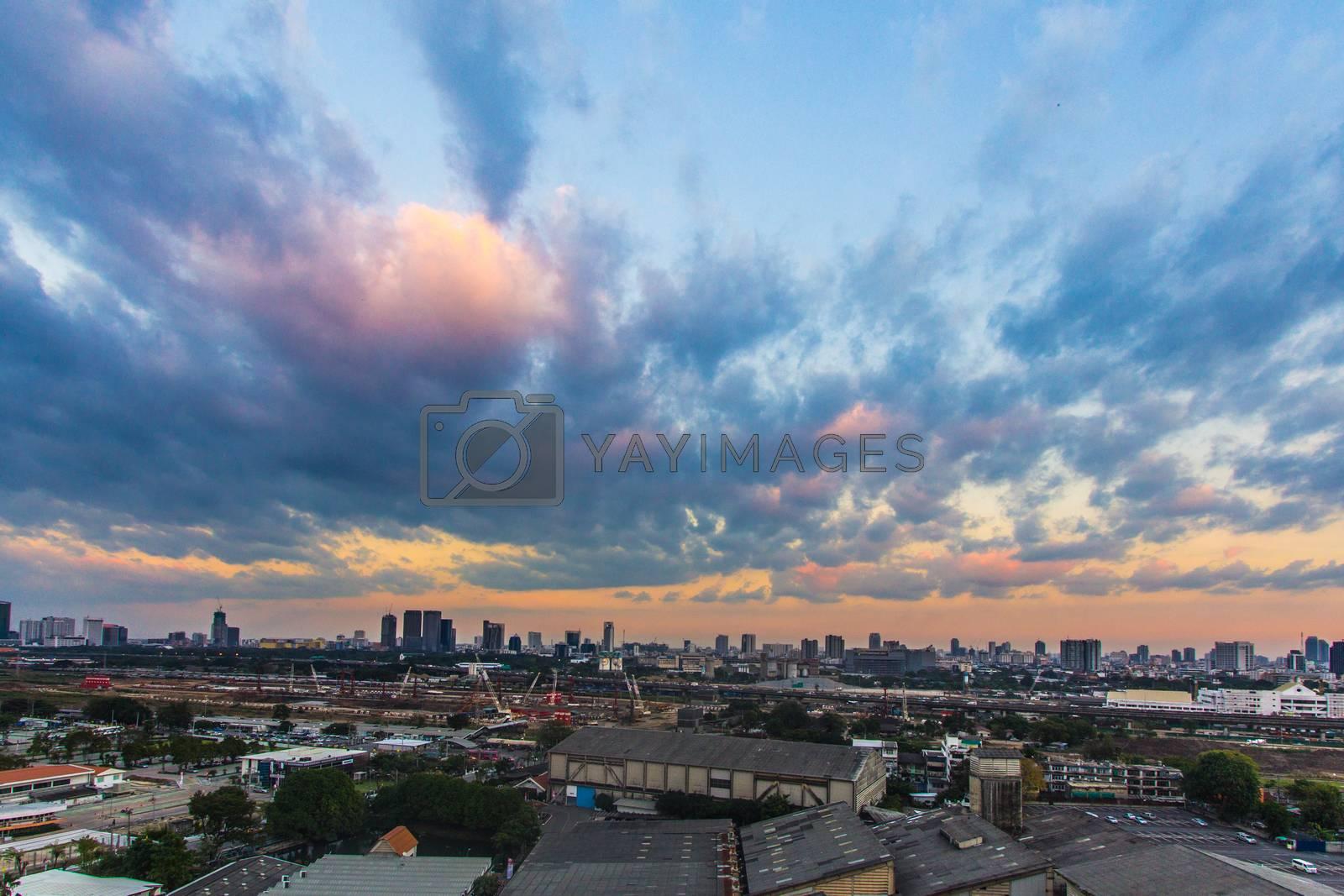 Royalty free image of Sunset over Bangkok City  by kritsada1992