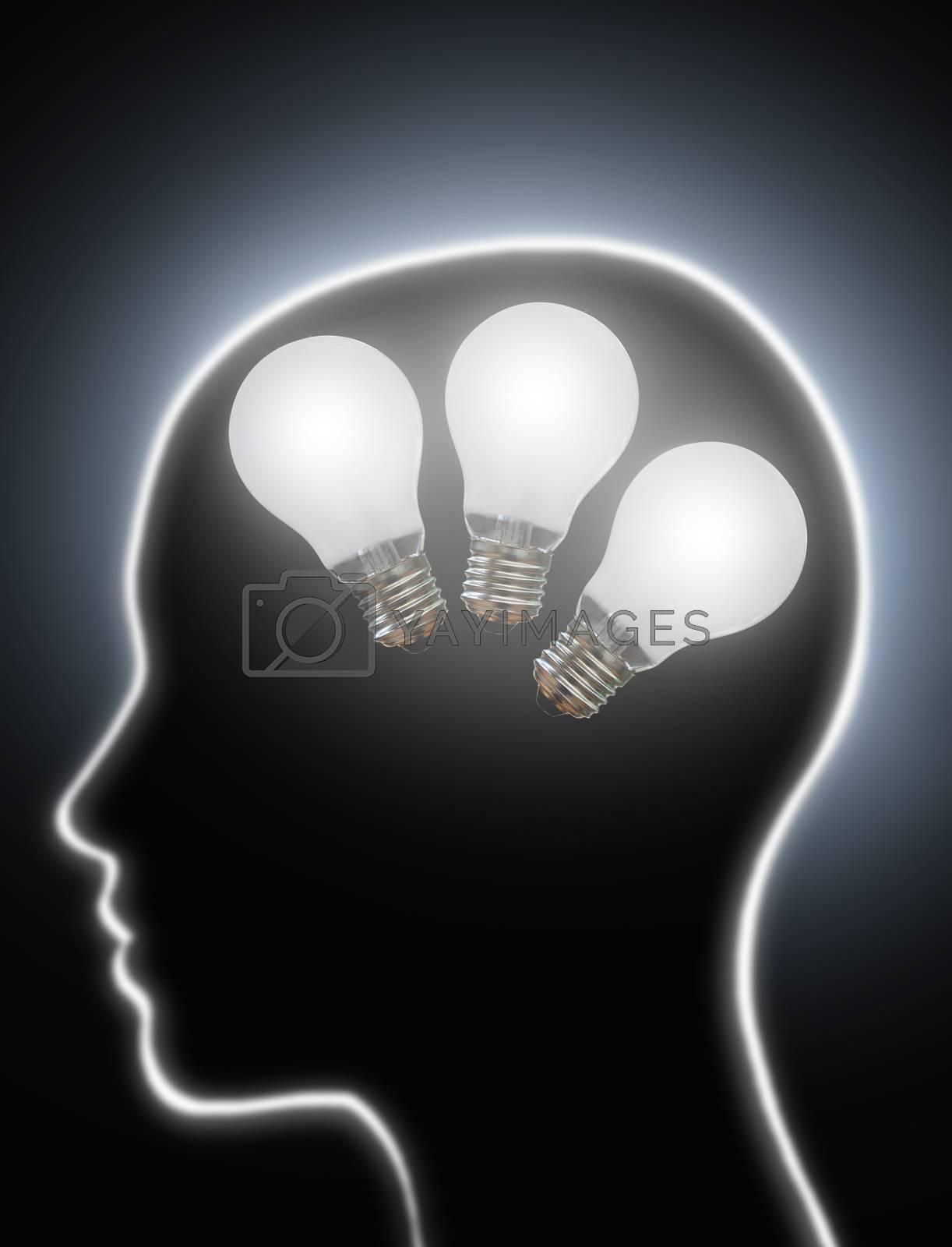 Royalty free image of Human brain power creativity light bulbs by unikpix