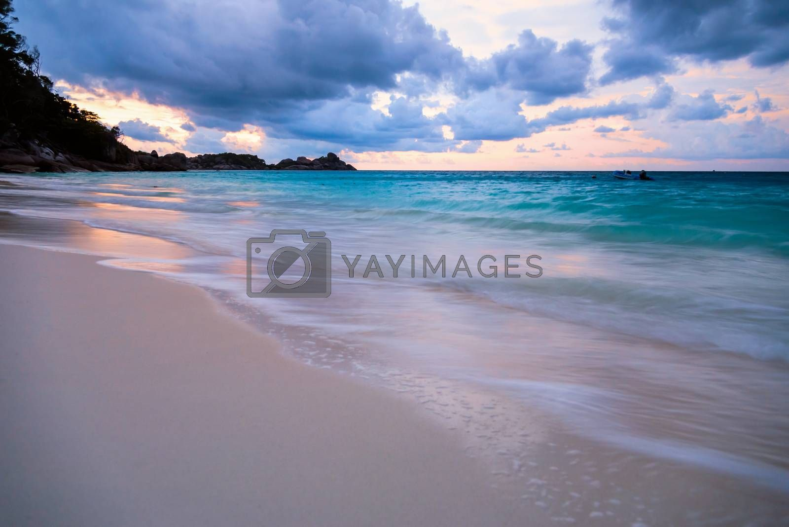 Royalty free image of Beach and sea sunset at Koh Miang Thailand by Yongkiet