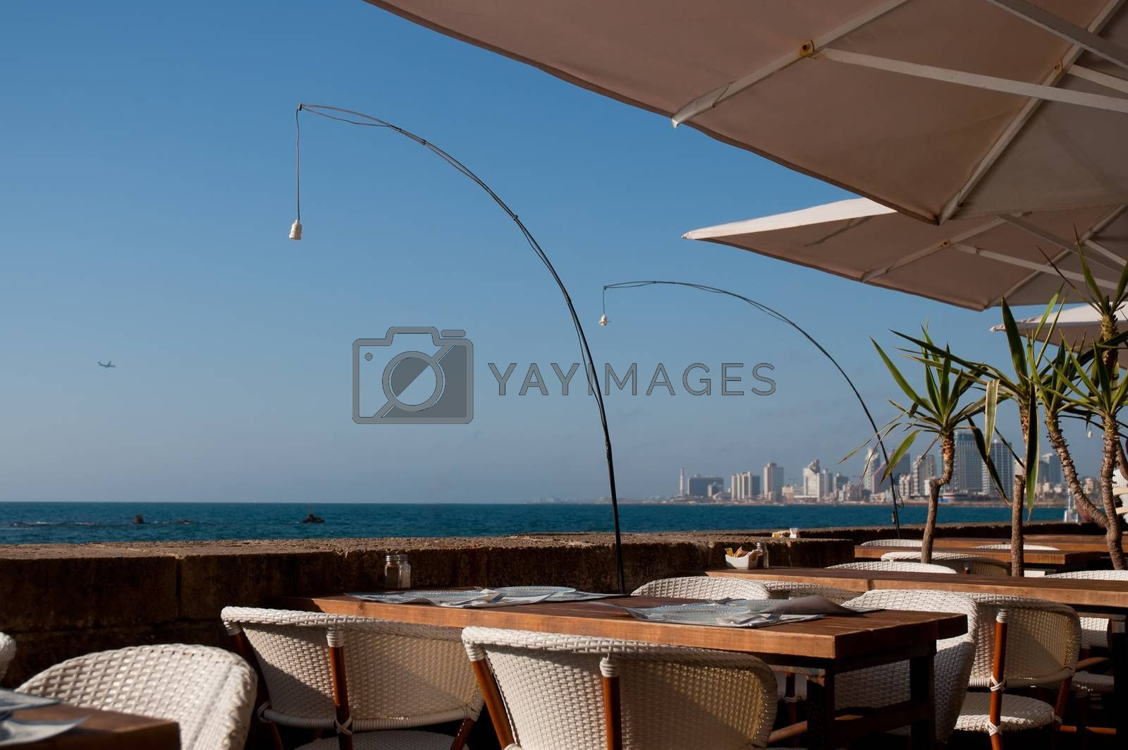 Royalty free image of The restaurant on the port Jaffa . by LarisaP