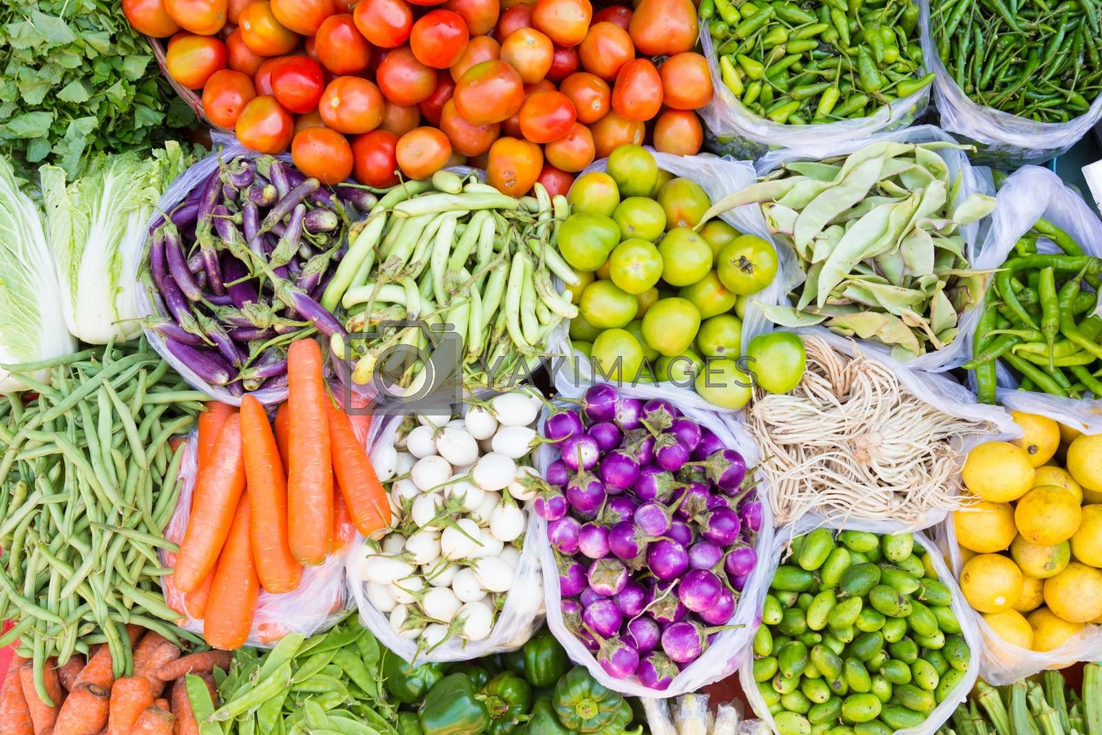 Royalty free image of Fruits and vegetables at a farmers market by kasto
