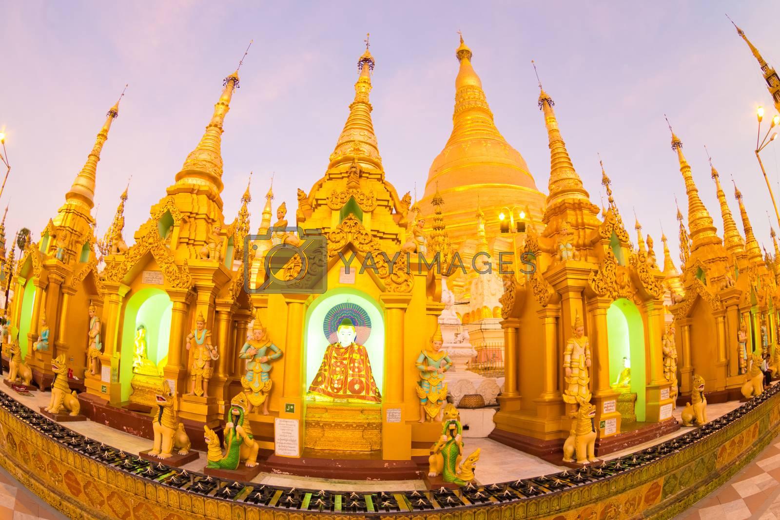 Royalty free image of Swedagon Paya at dawn in Yangon, Myanmar. by kasto