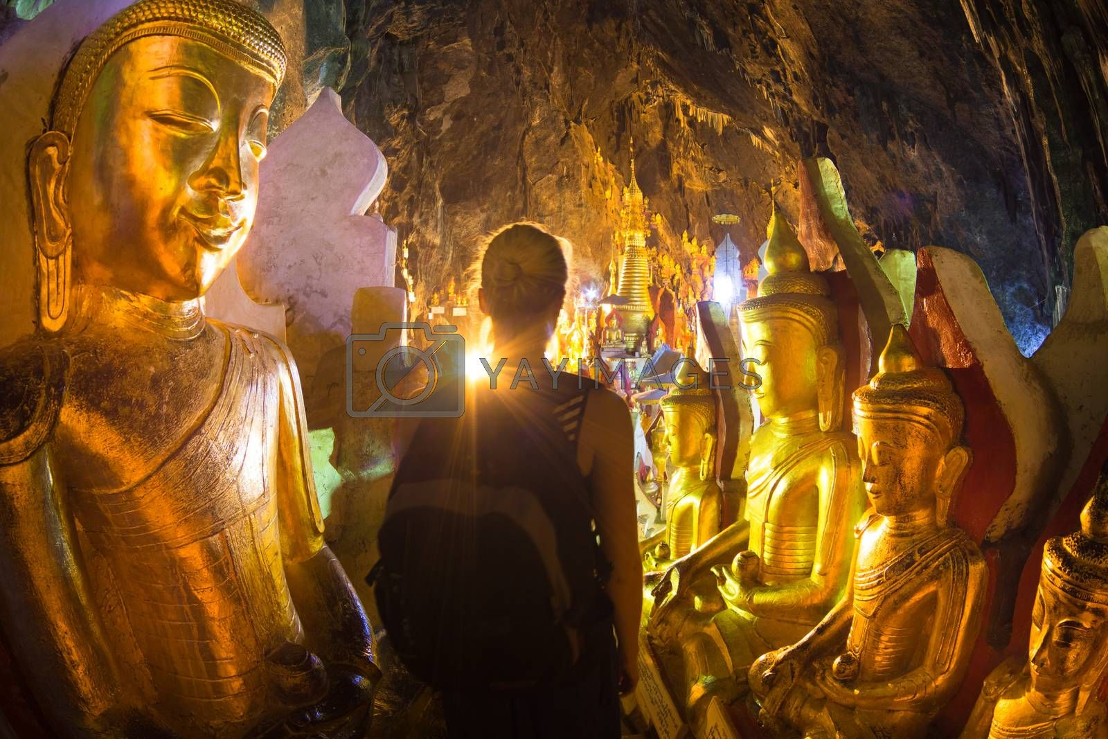Royalty free image of Golden Buddha statues in Pindaya Cave, Burma by kasto