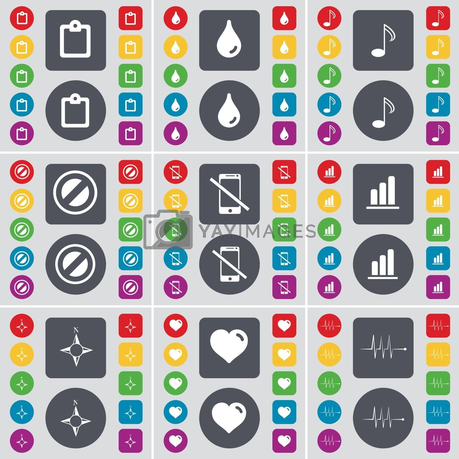 Royalty free image of Survay, Drop, Note, Stop, Smartphone, Diagram, Compass, Heart, Pulse icon symbol. A large set of flat, colored buttons for your design. Vector by serhii_lohvyniuk
