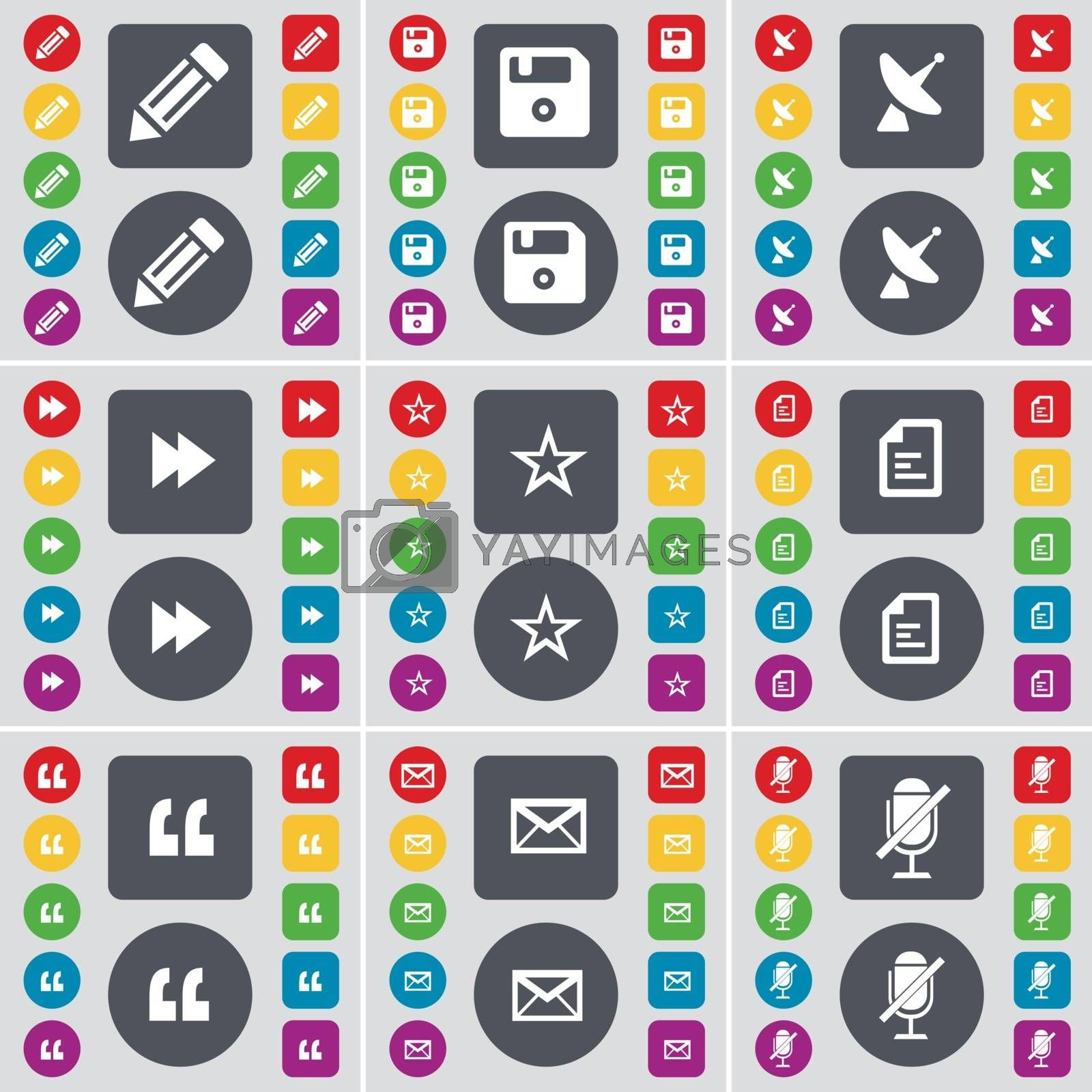 Pencil, Floppy, Satellite dish, Rewind, Star, File, Quotation, Message, Microphone icon symbol. A large set of flat, colored buttons for your design. Vector by serhii_lohvyniuk