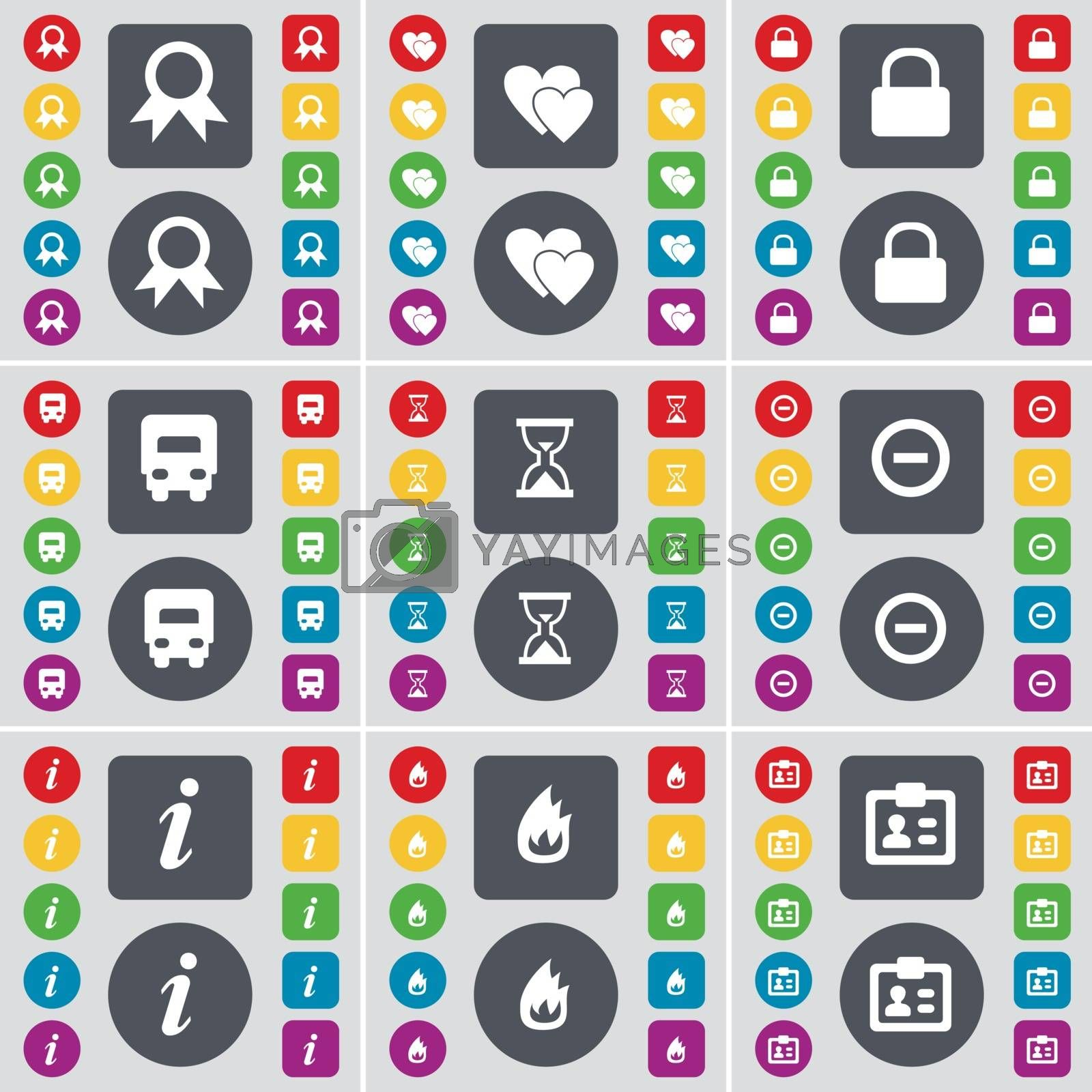 Royalty free image of Medal, Heart, Lock, Car, Hourglass, Minus, Information, Fire, Contact icon symbol. A large set of flat, colored buttons for your design. Vector by serhii_lohvyniuk