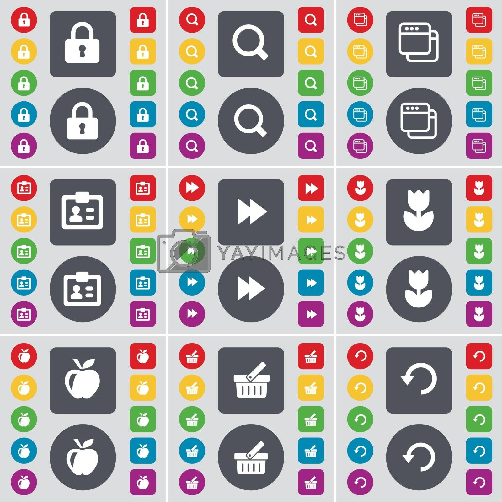 Royalty free image of Lock, Magnifying glass, Windows, Contact, Rewind, Flower, Apple, Basket, Reload icon symbol. A large set of flat, colored buttons for your design. Vector by serhii_lohvyniuk