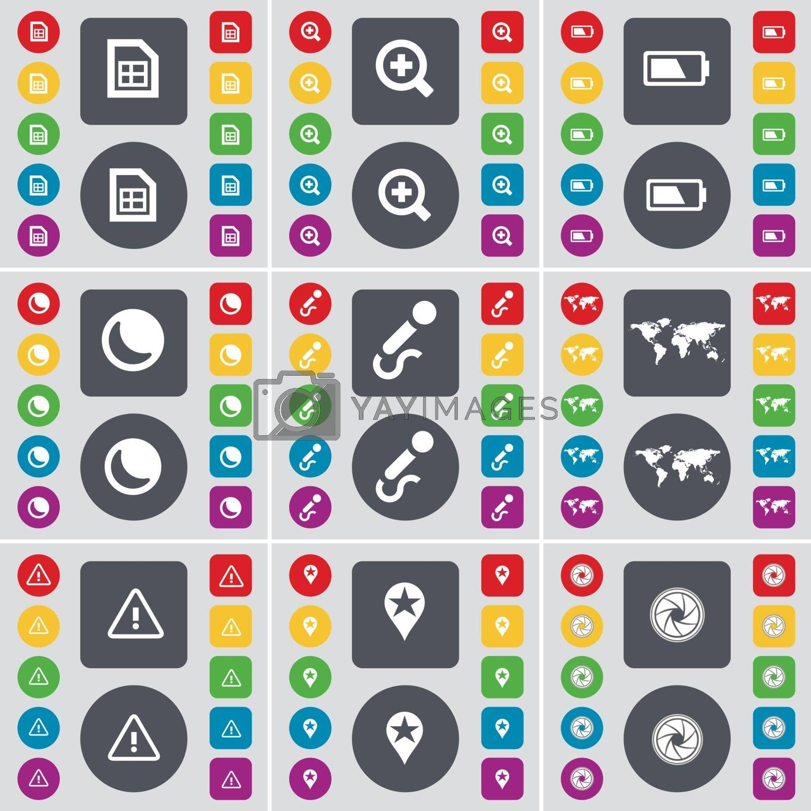 File, Magnifying glass, Battery, Moon, Microphone, Globe, Warning, Checkpoint, Lens icon symbol. A large set of flat, colored buttons for your design. Vector by serhii_lohvyniuk