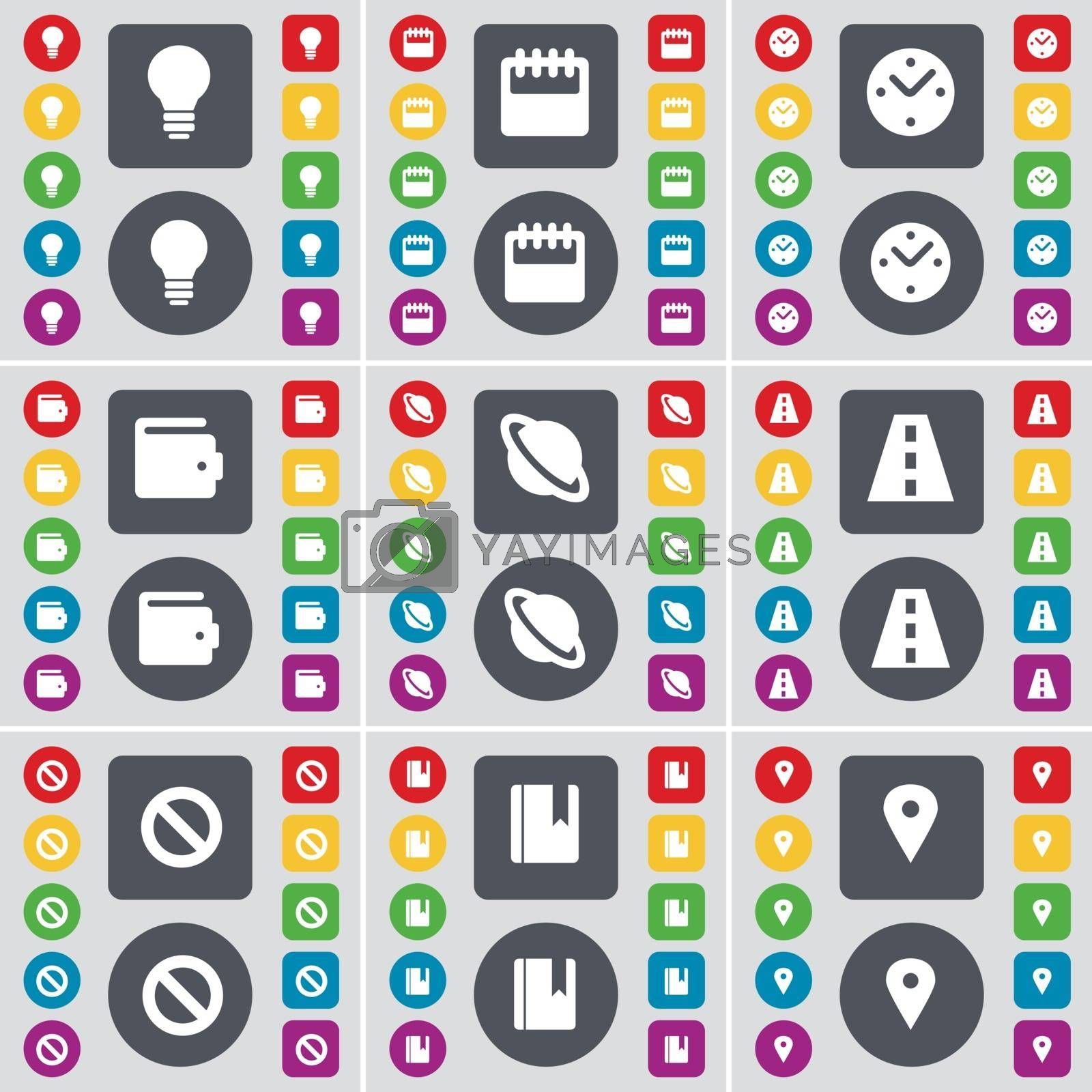 Royalty free image of Light bulb, Calendar, Clock, Wallet, Planet, Road, Stop, Dictionary, Checkpoint icon symbol. A large set of flat, colored buttons for your design. Vector by serhii_lohvyniuk