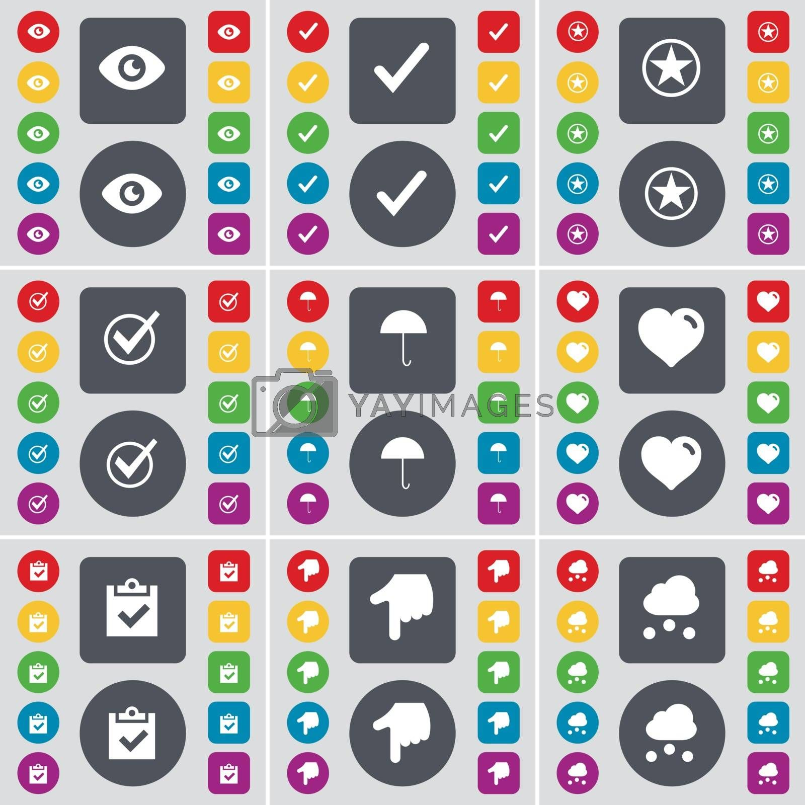 Royalty free image of Vision, Tick, Star, Tick, Umbrella, Heart, Survey, Hand, Cloud icon symbol. A large set of flat, colored buttons for your design. Vector by serhii_lohvyniuk