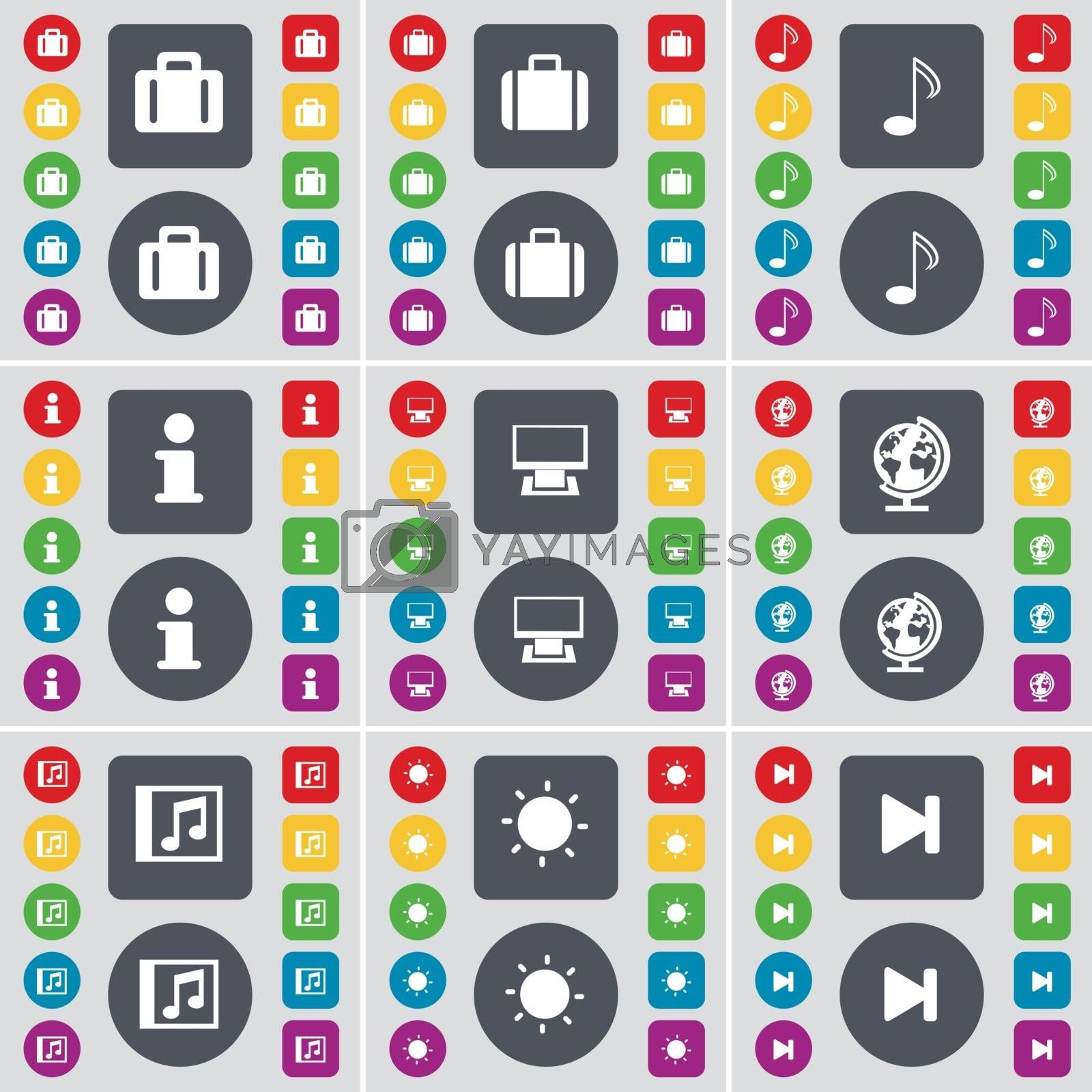 Royalty free image of Suitcase, Note, Information, Monitor, Globe, Media window, Light, Media skip icon symbol. A large set of flat, colored buttons for your design. Vector by serhii_lohvyniuk