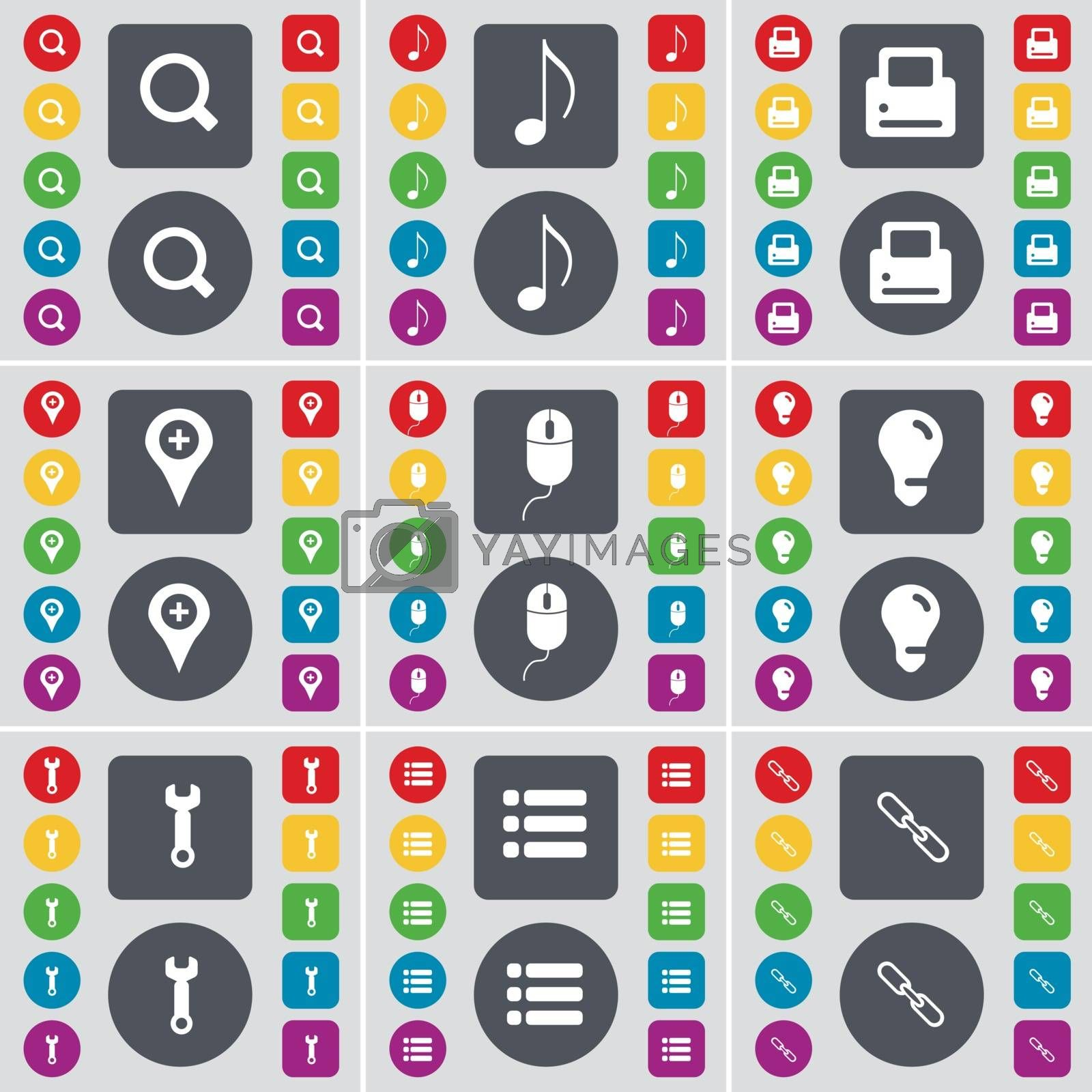 Royalty free image of Magnifying glass, Note, Printer, Checkpoint, Mouse, Light bulb, Wrench, List, Link icon symbol. A large set of flat, colored buttons for your design. Vector by serhii_lohvyniuk