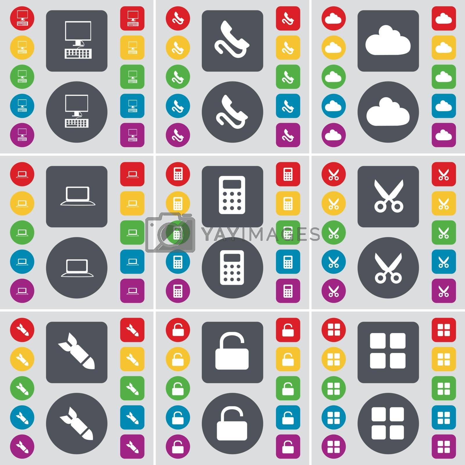 Royalty free image of PC, Receiver, Cloud, Laptop, Calculator, Scissors, Rocket, Lock, Apps icon symbol. A large set of flat, colored buttons for your design. Vector by serhii_lohvyniuk