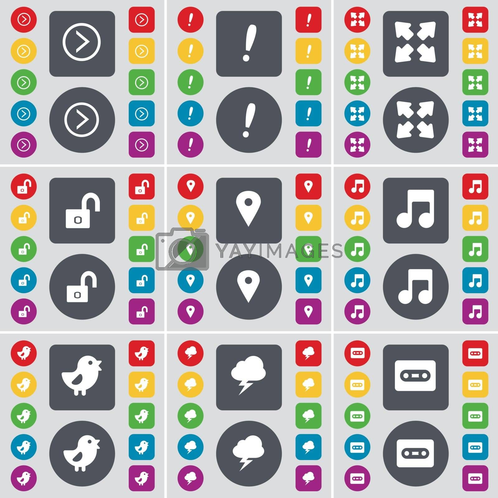 Royalty free image of Arrow right, Exclamation mark, Full screen, Lock, Checkpoint, Note, Bird, Lightning, Cassette icon symbol. A large set of flat, colored buttons for your design. Vector by serhii_lohvyniuk