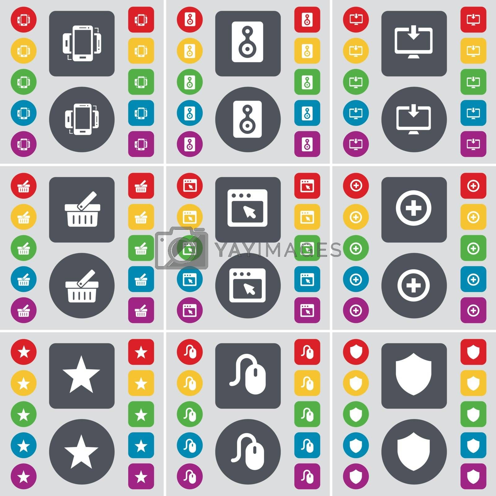 Royalty free image of Smartphone, Speaker, Monitor, Basket, Window, Plus, Star, Mouse, Badge icon symbol. A large set of flat, colored buttons for your design. Vector by serhii_lohvyniuk