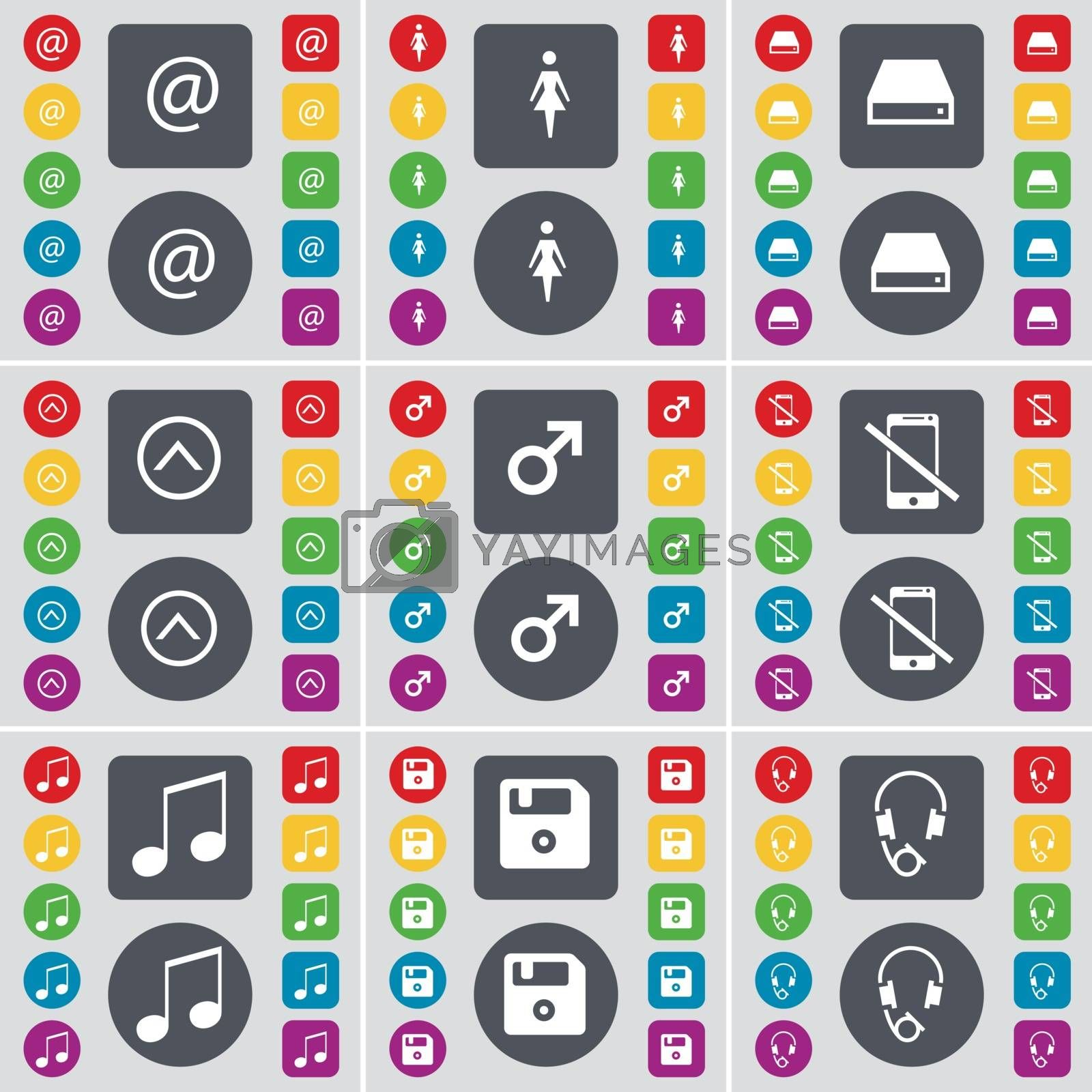 Royalty free image of Mail, Silhouette, Hard drive, Arrow up, Mars symbol, Smartphone, Note, Floppy, Headphones icon symbol. A large set of flat, colored buttons for your design. Vector by serhii_lohvyniuk