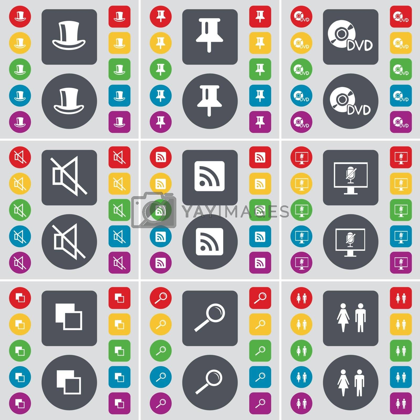 Royalty free image of Silk hat, Pin, DVD, Mute, RSS, Monitor, Copy, Magnifying glass, Silhouette icon symbol. A large set of flat, colored buttons for your design. Vector by serhii_lohvyniuk