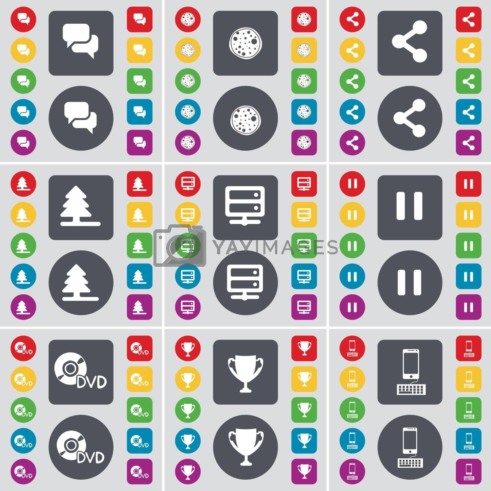 Royalty free image of Chat, Pizza, Share, Firteee, Server, Pause, DVD, Cup, Smartphone icon symbol. A large set of flat, colored buttons for your design. Vector by serhii_lohvyniuk