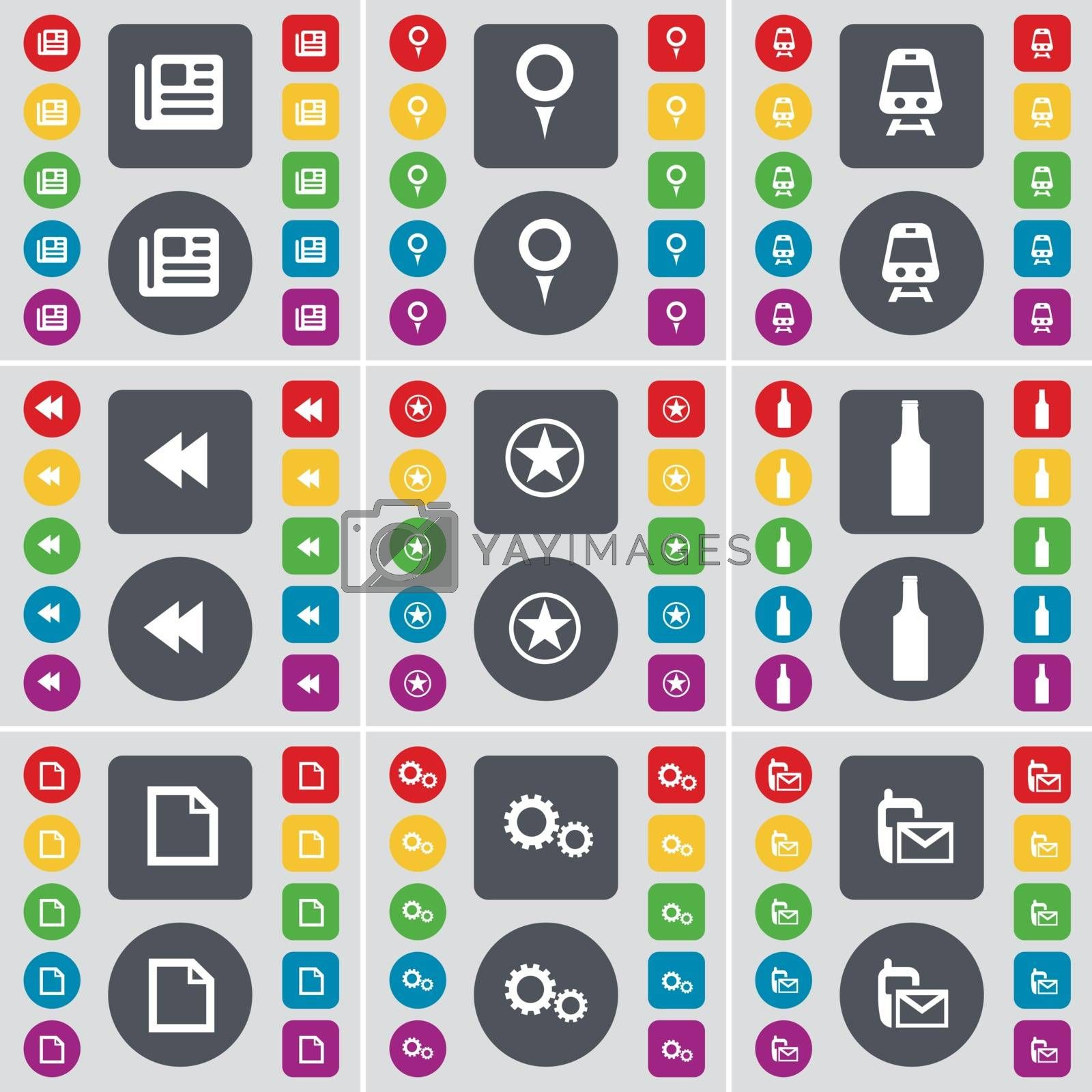 Royalty free image of Newspaper, Checkpoint, Train, Rewind, Star, Bottle, File, Gear, SMS icon symbol. A large set of flat, colored buttons for your design. Vector by serhii_lohvyniuk