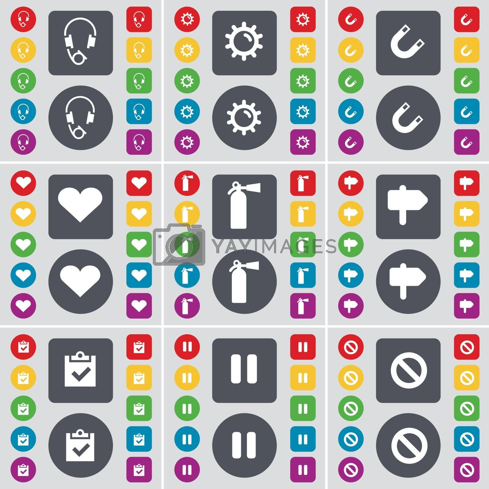 Royalty free image of Headphones, Gear, Magnet, Heart, Fire extinguisher, Signpost, Survey, Pause, Stop icon symbol. A large set of flat, colored buttons for your design. Vector by serhii_lohvyniuk